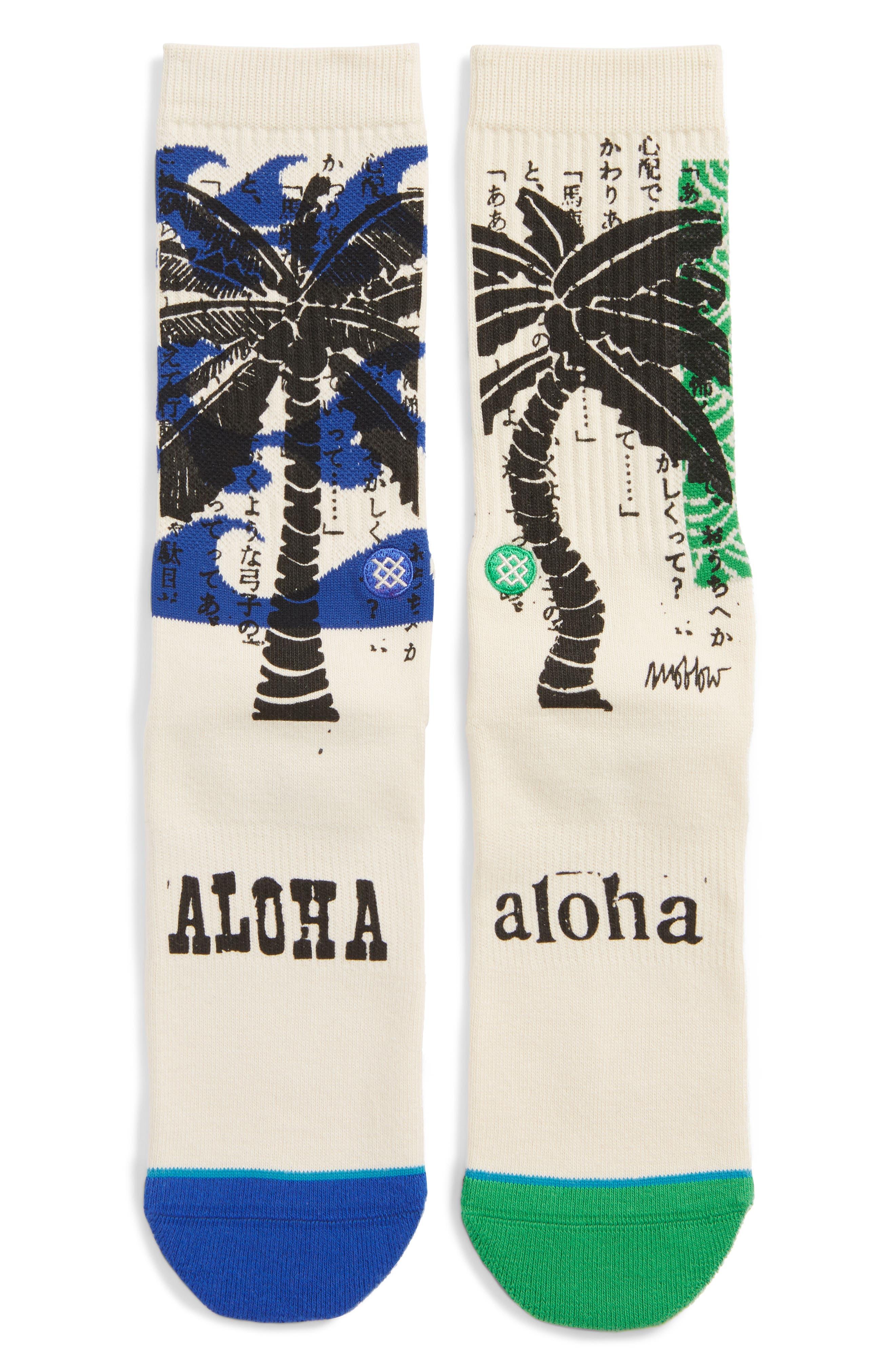Oblow Palm Crew Socks,                             Main thumbnail 1, color,                             NATURAL