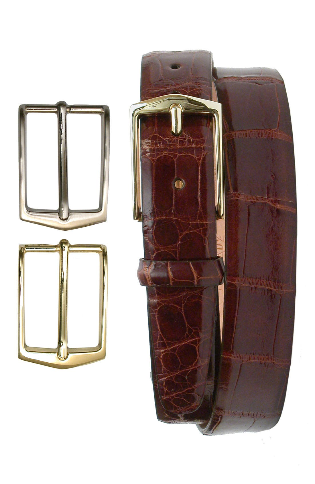 'Julian' Glazed American Alligator Leather Belt with Interchangeable Buckles,                             Main thumbnail 3, color,