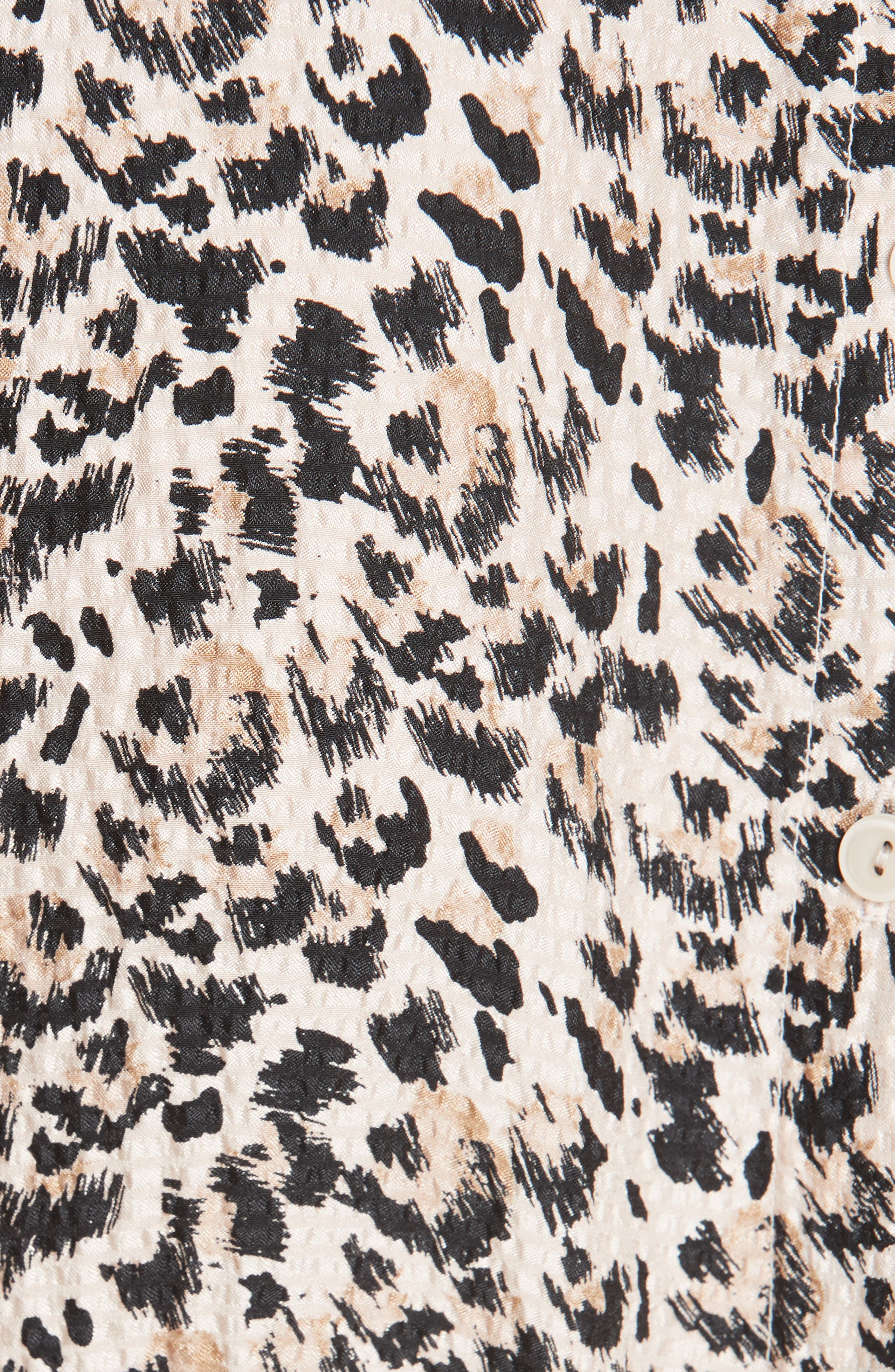 Leopard Print Silk Dress,                             Alternate thumbnail 6, color,                             CARAMEL COMBO