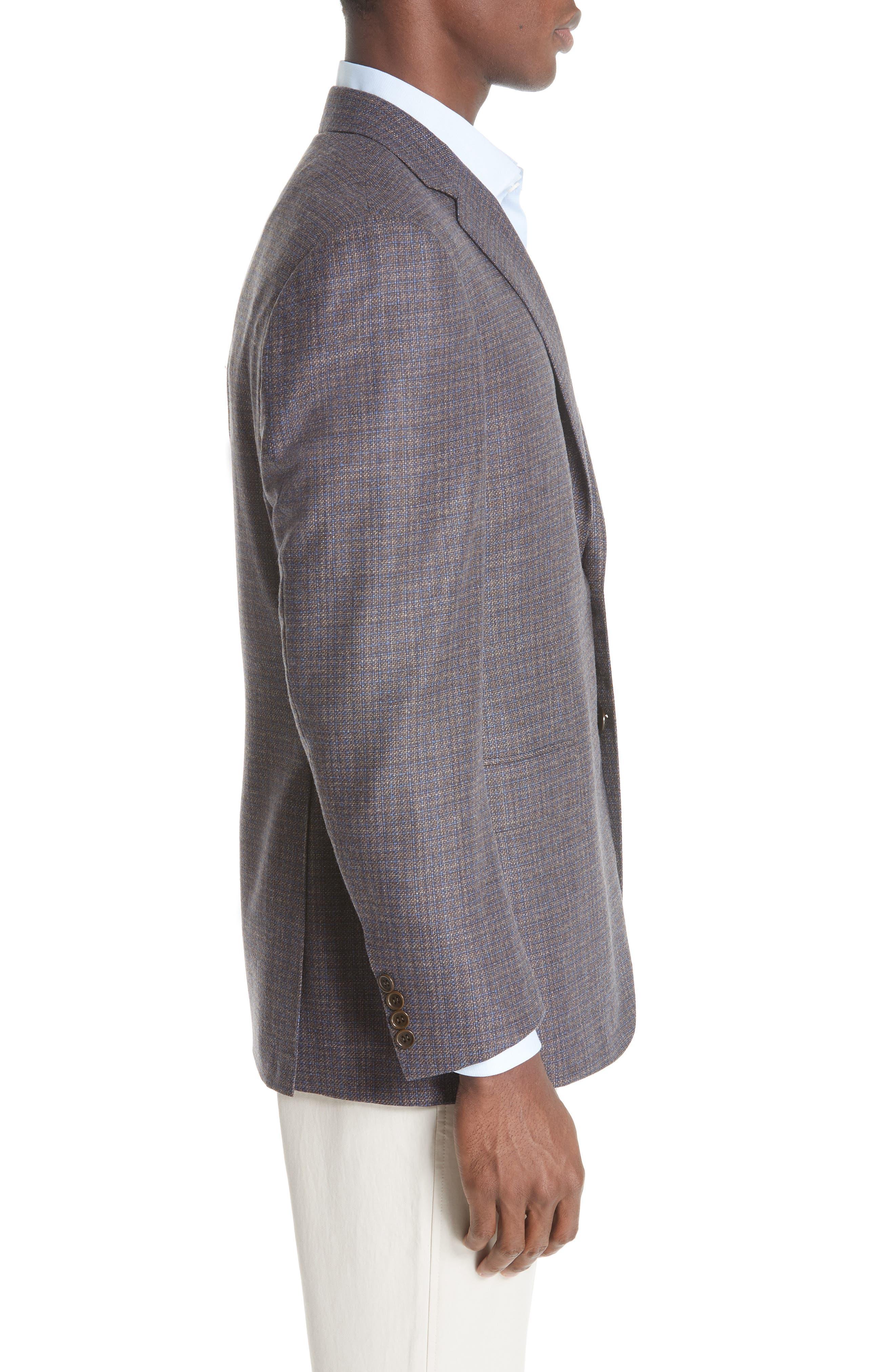 Classic Fit Check Wool & Cashmere Sport Coat,                             Alternate thumbnail 3, color,                             200