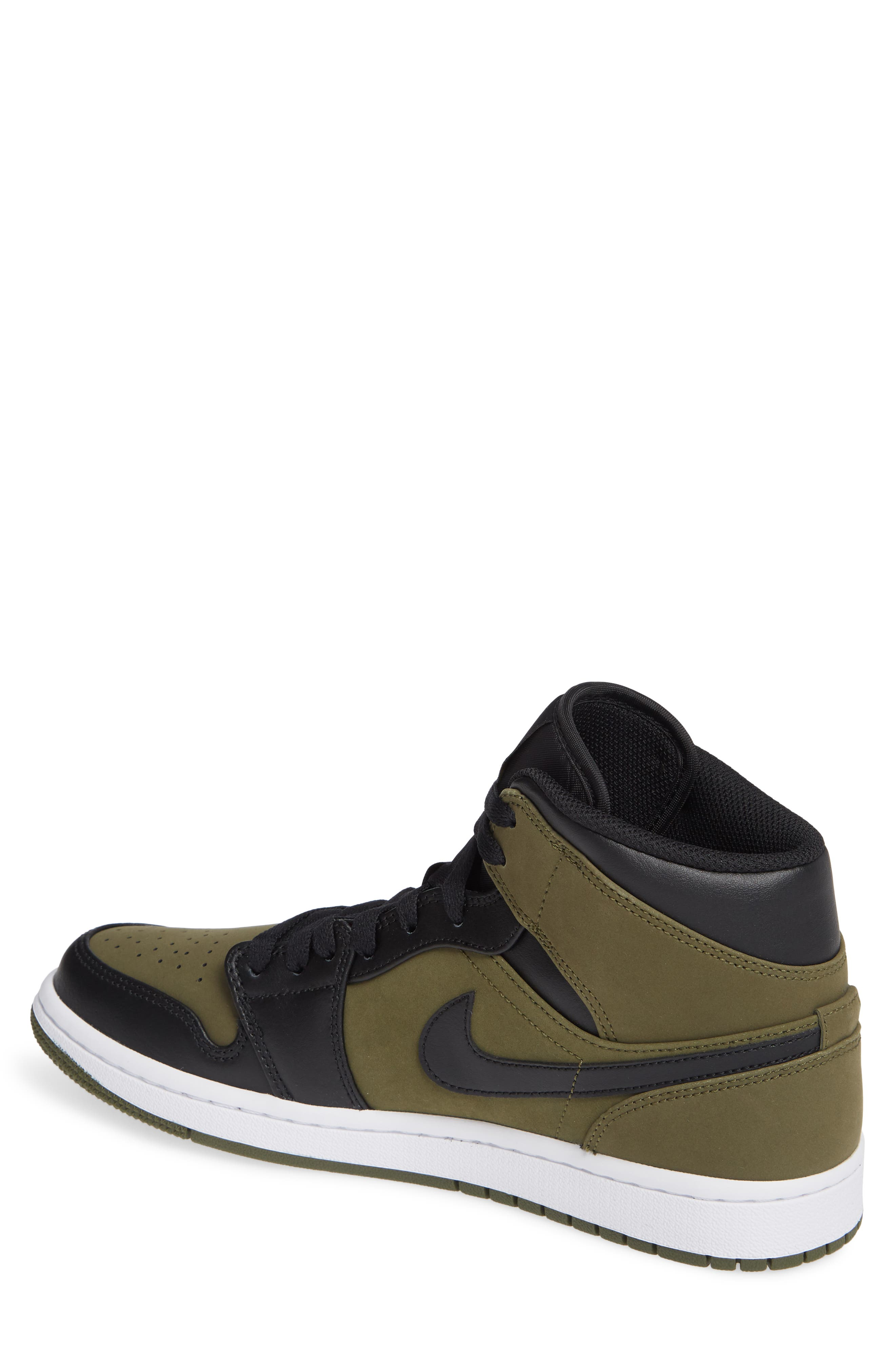 'Air Jordan 1 Mid' Sneaker,                             Alternate thumbnail 2, color,                             OLIVE CANVAS/ BLACK/ WHITE