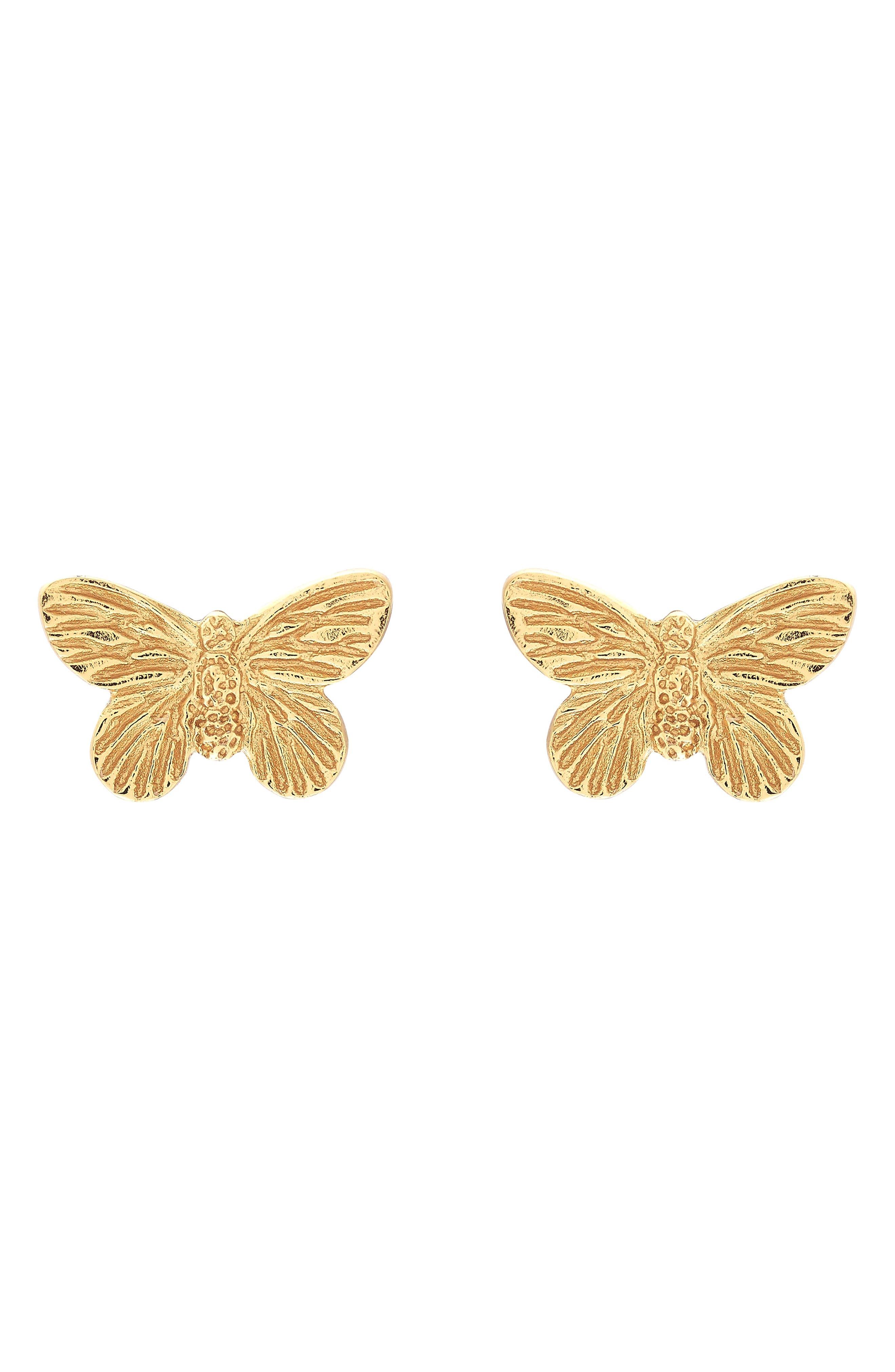 3D Butterfly Stud Earrings,                             Alternate thumbnail 3, color,                             GOLD