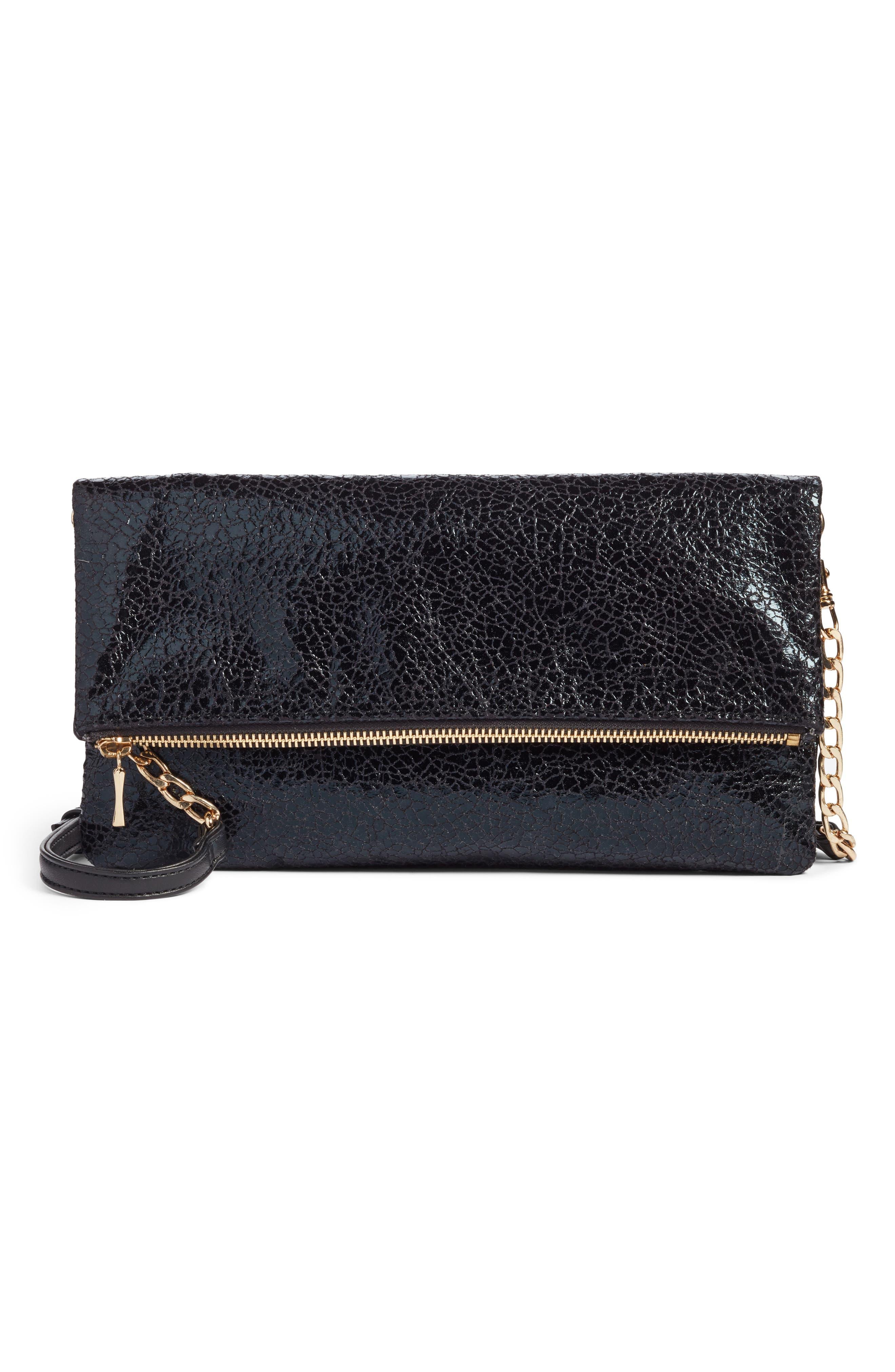 Black Crackle Faux Leather Foldover Clutch,                         Main,                         color, 001