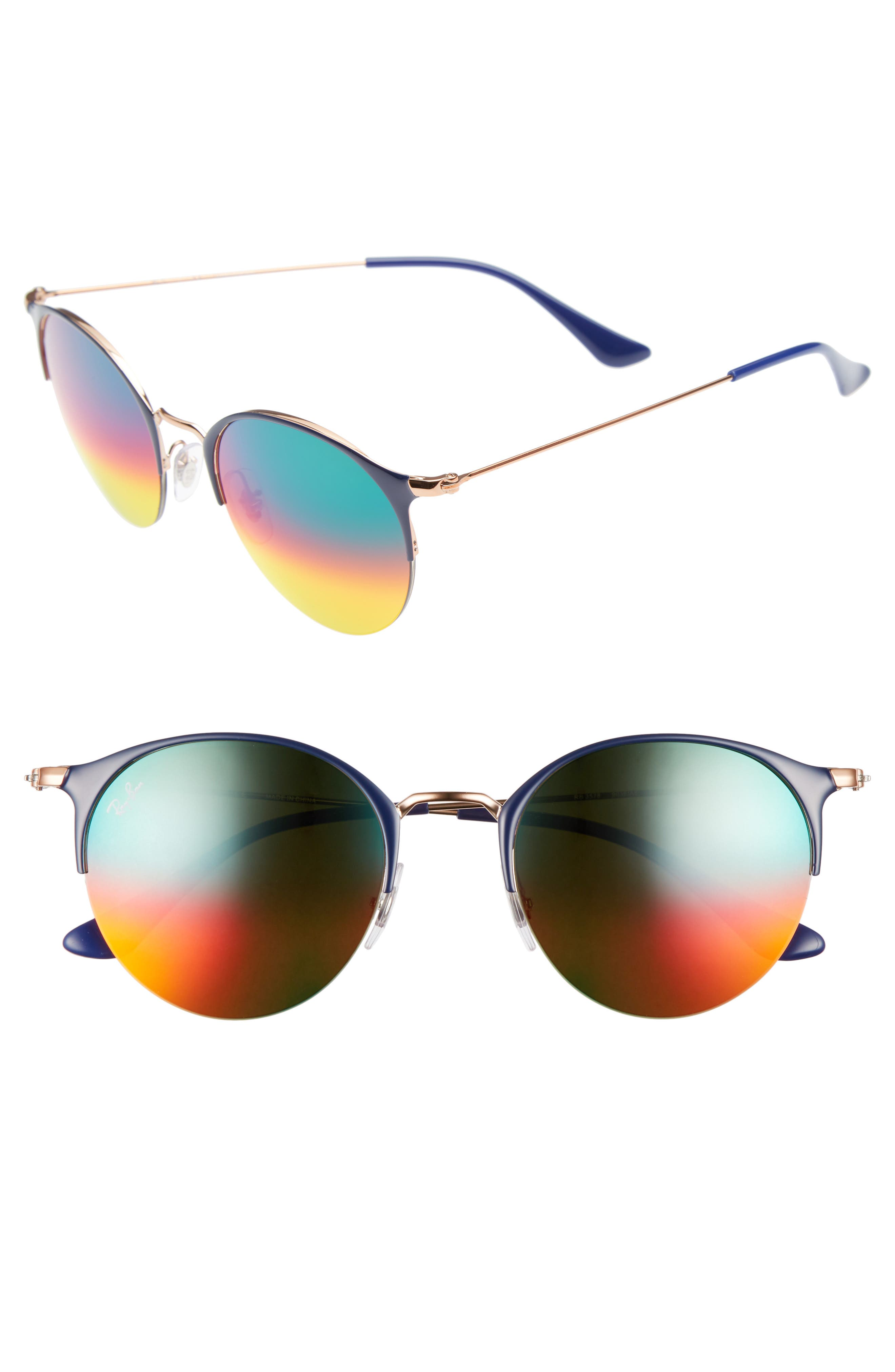 50mm Round Sunglasses,                         Main,                         color, GOLD BLUE/ BROWN MIRROR