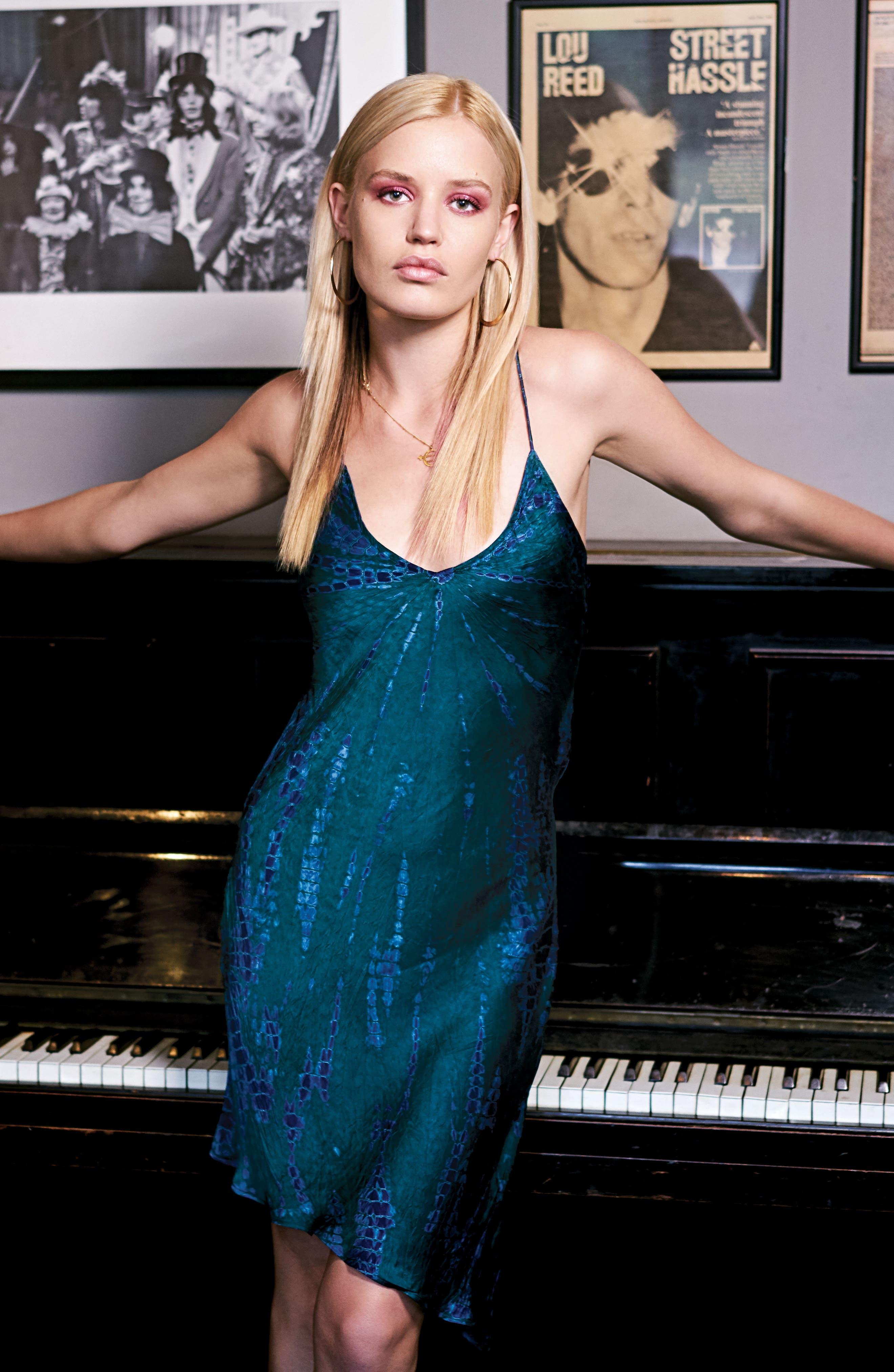 x Georgia May Jagger Tie Dye Satin Slipdress,                             Alternate thumbnail 7, color,