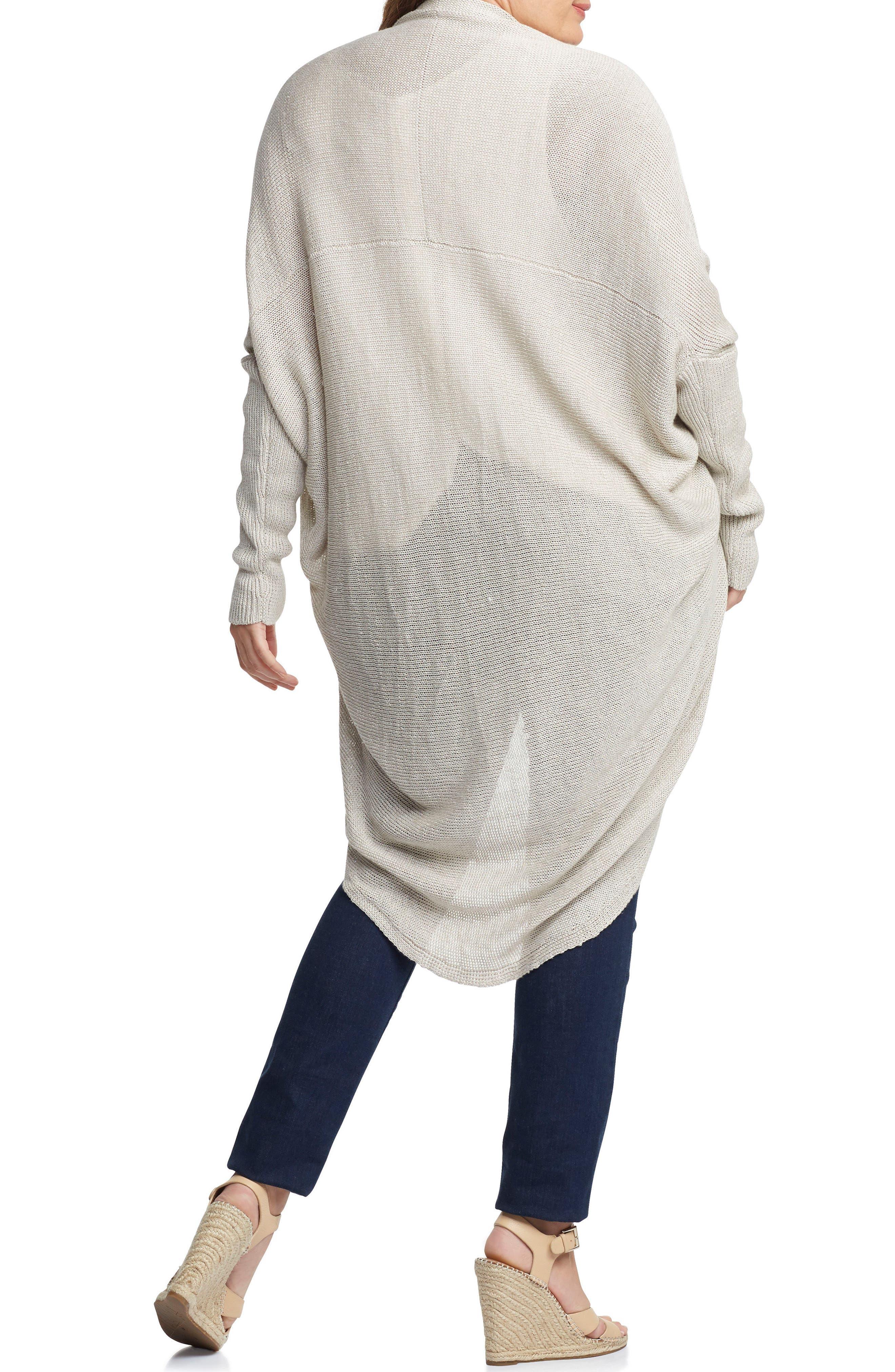 Darla Linen Blend Open Cardigan,                             Alternate thumbnail 2, color,                             LIGHT TAN