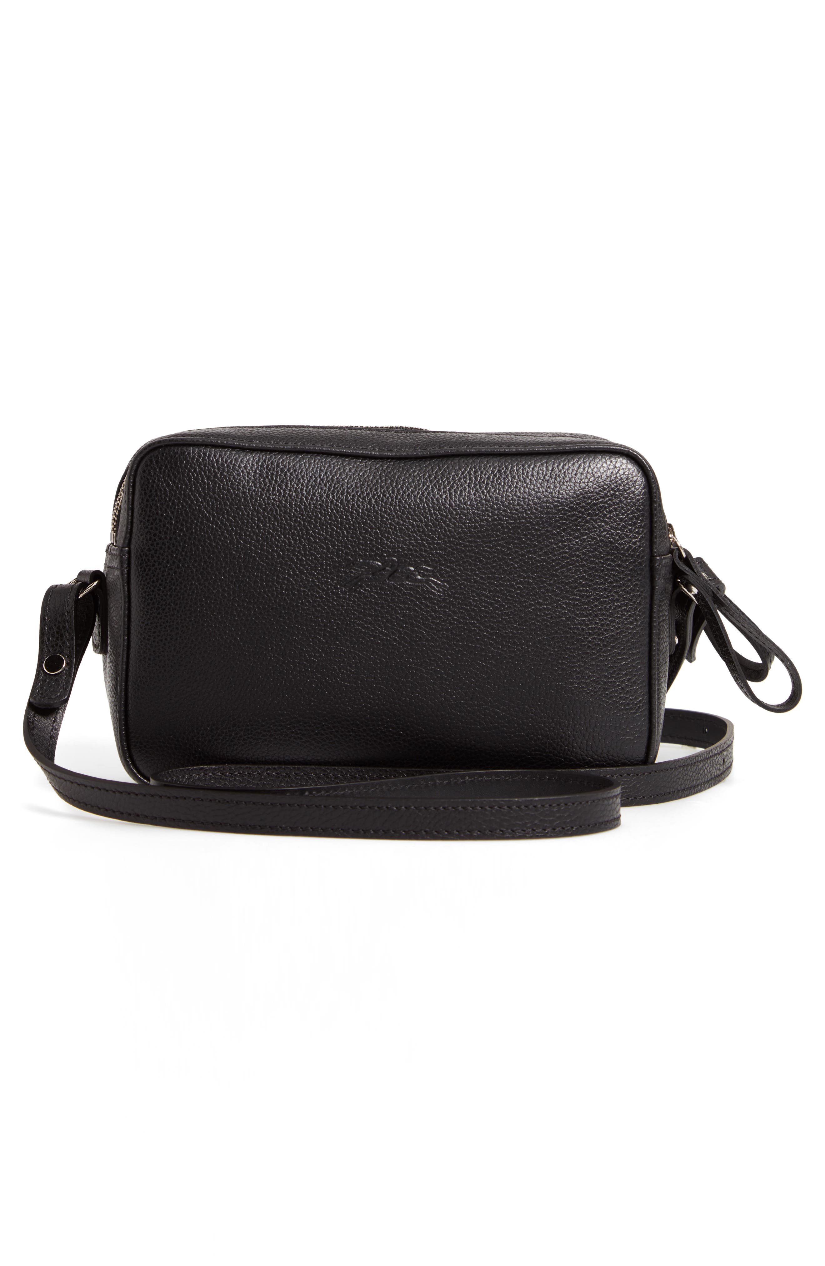 Le Foulonné Leather Camera Bag,                             Alternate thumbnail 3, color,                             BLACK