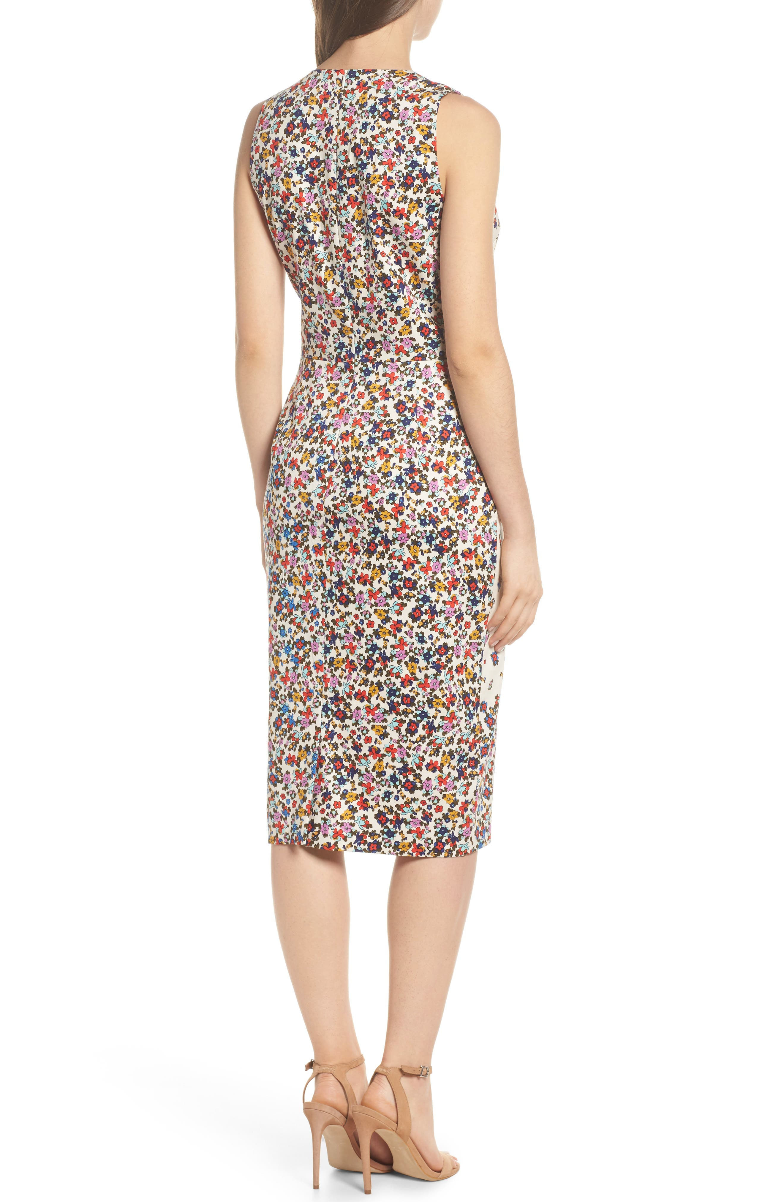 Placed Print Sateen Sheath Dress,                             Alternate thumbnail 2, color,
