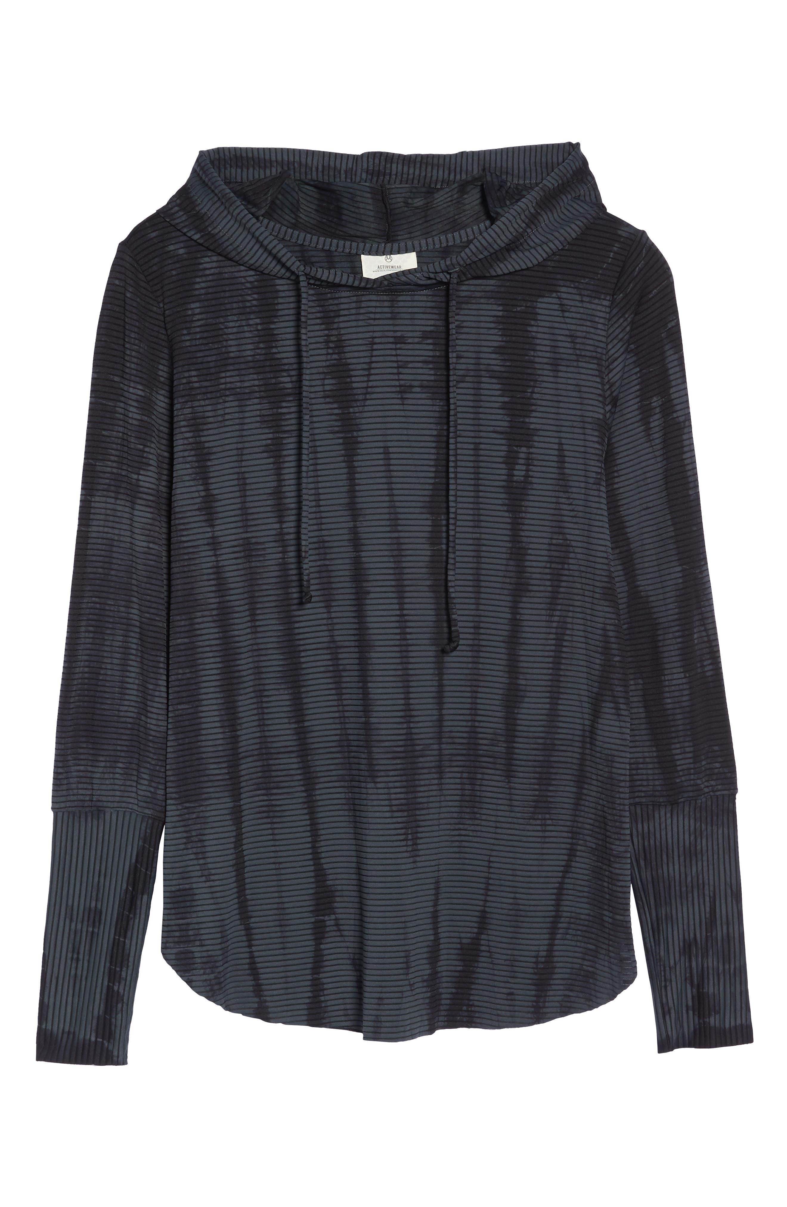 Waves Tie Dye Gray Hooded Pullover,                             Alternate thumbnail 7, color,                             DARK GREY