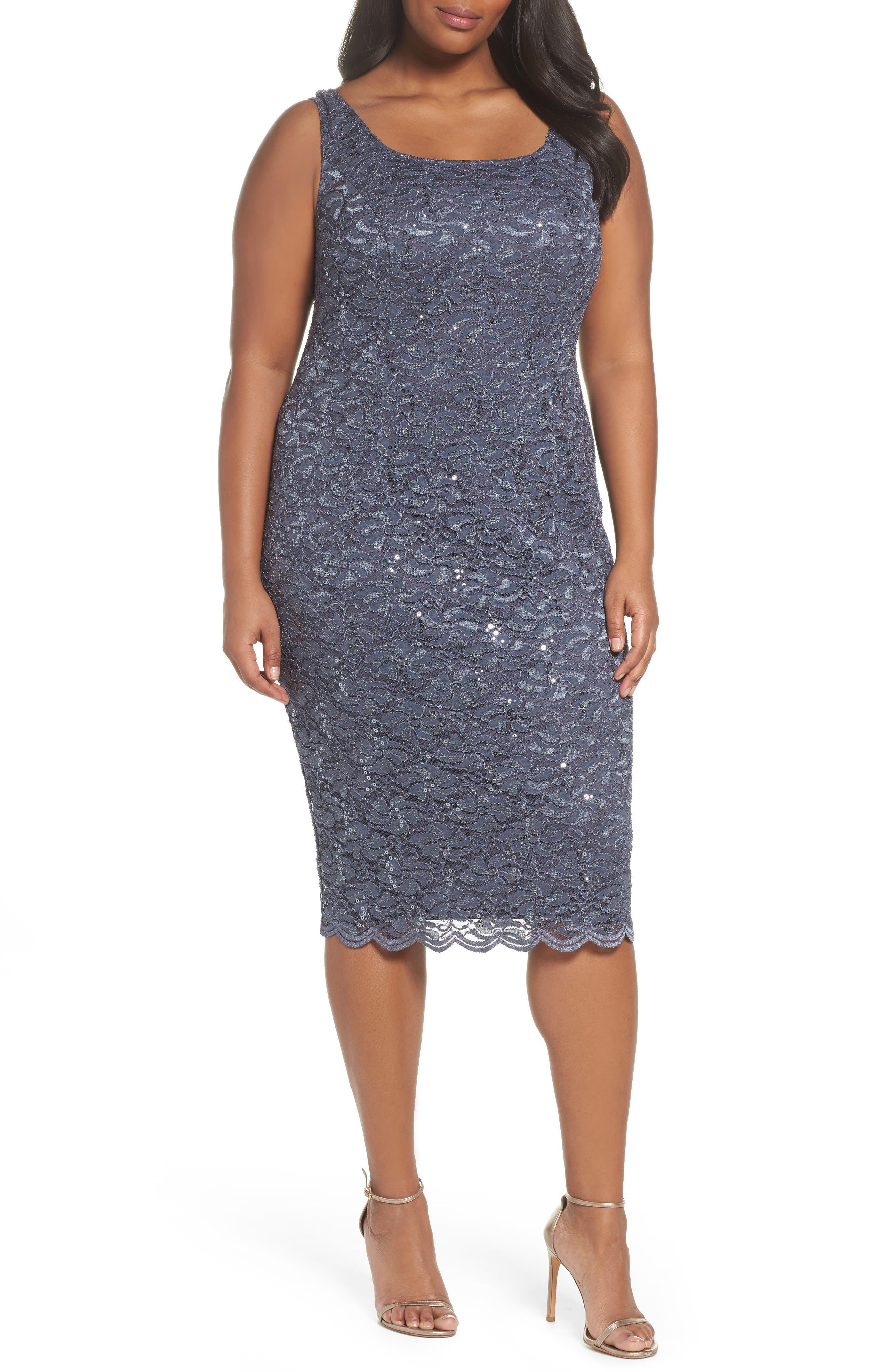 Sequin Lace Jacket Dress,                             Alternate thumbnail 3, color,                             473