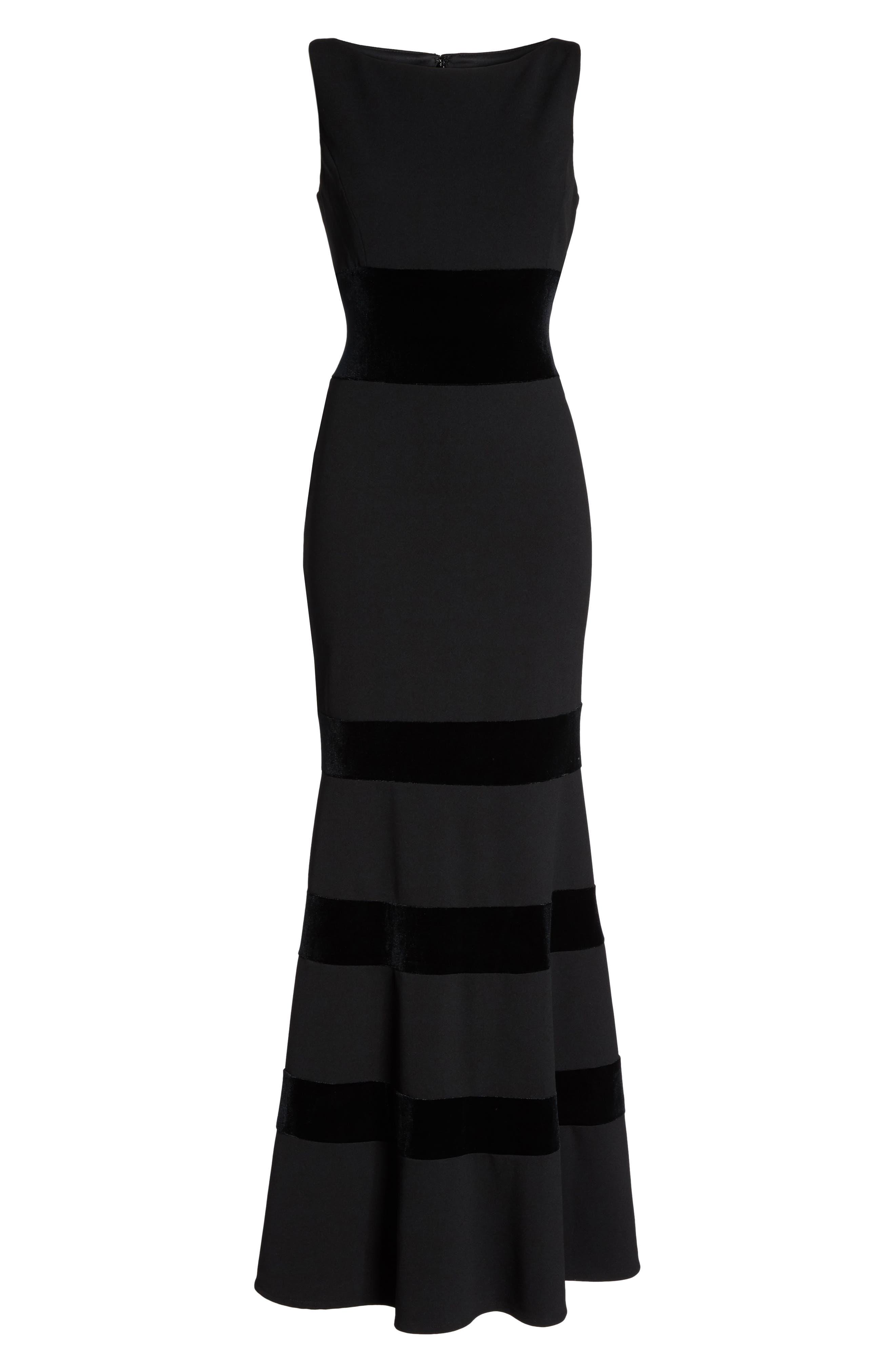 Velvet & Scuba Crepe Mermaid Gown,                             Alternate thumbnail 7, color,                             BLACK