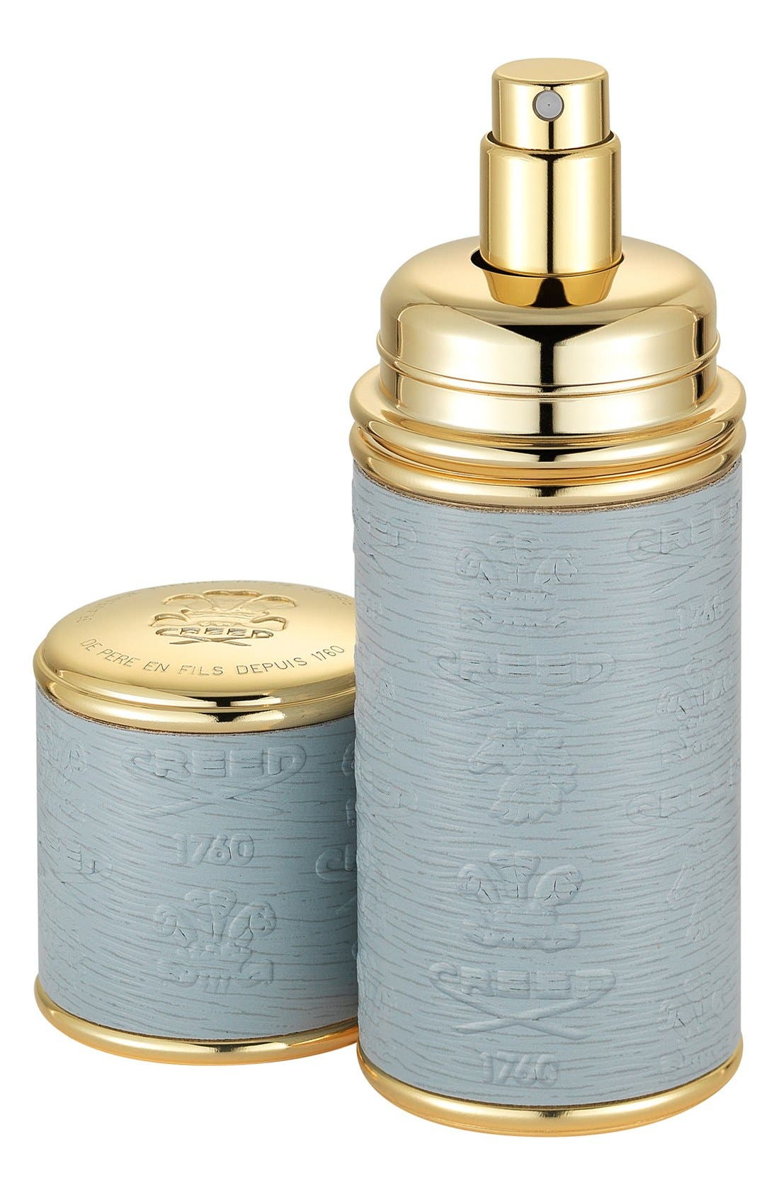 Grey with Gold Trim Leather Atomizer,                             Main thumbnail 1, color,                             NO COLOR