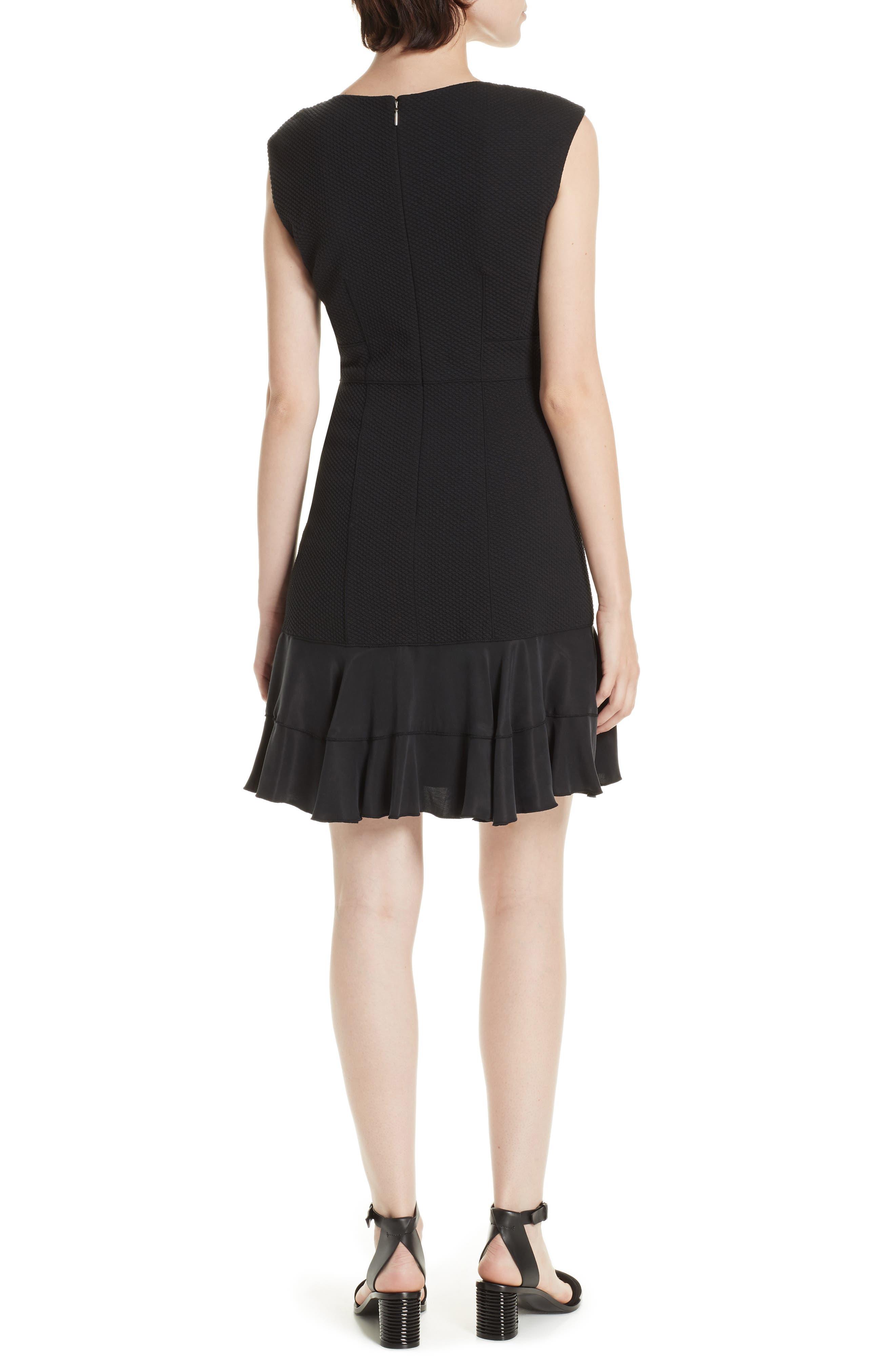 Honeycomb Fit & Flare Dress,                             Alternate thumbnail 2, color,                             BLACK