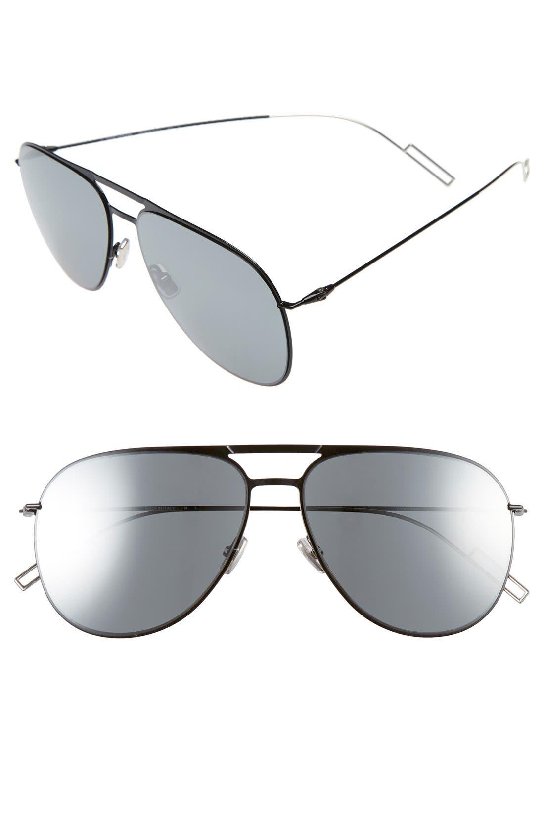 59mm Aviator Sunglasses, Main, color, SHINY BLACK