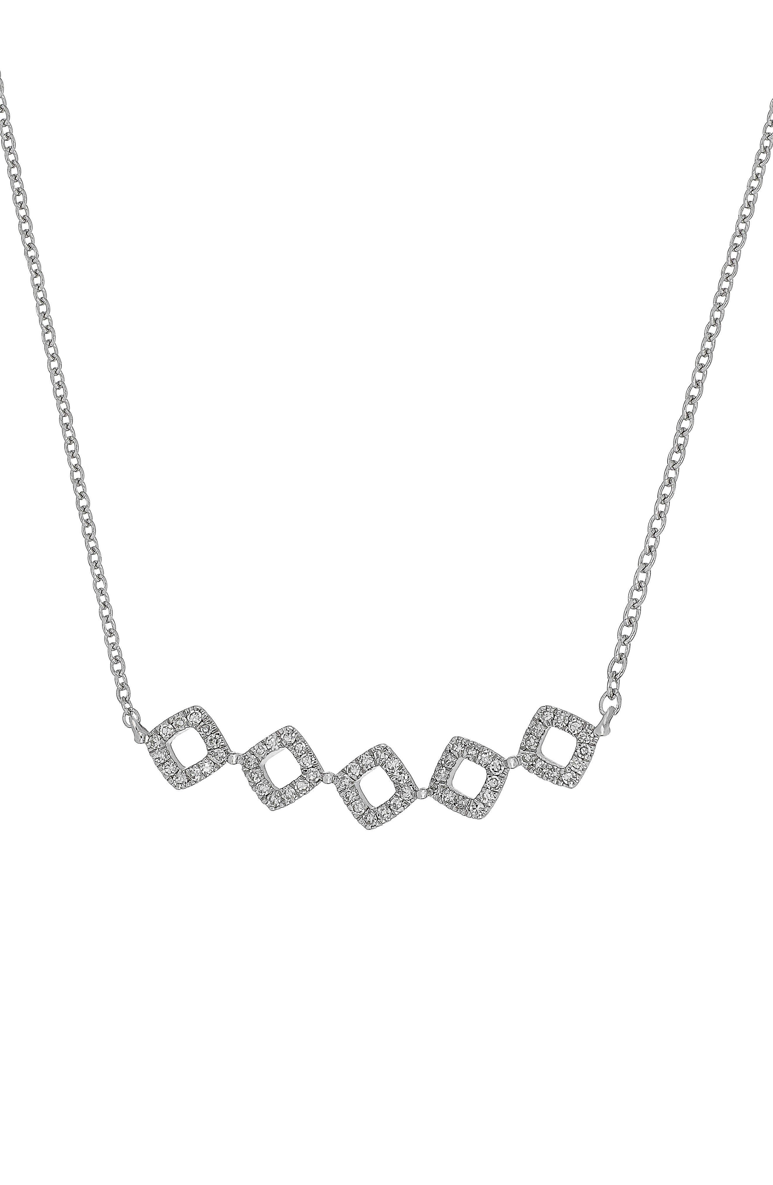 Carrière Diamond Shape Frontal Necklace,                             Main thumbnail 1, color,                             SILVER/ DIAMOND
