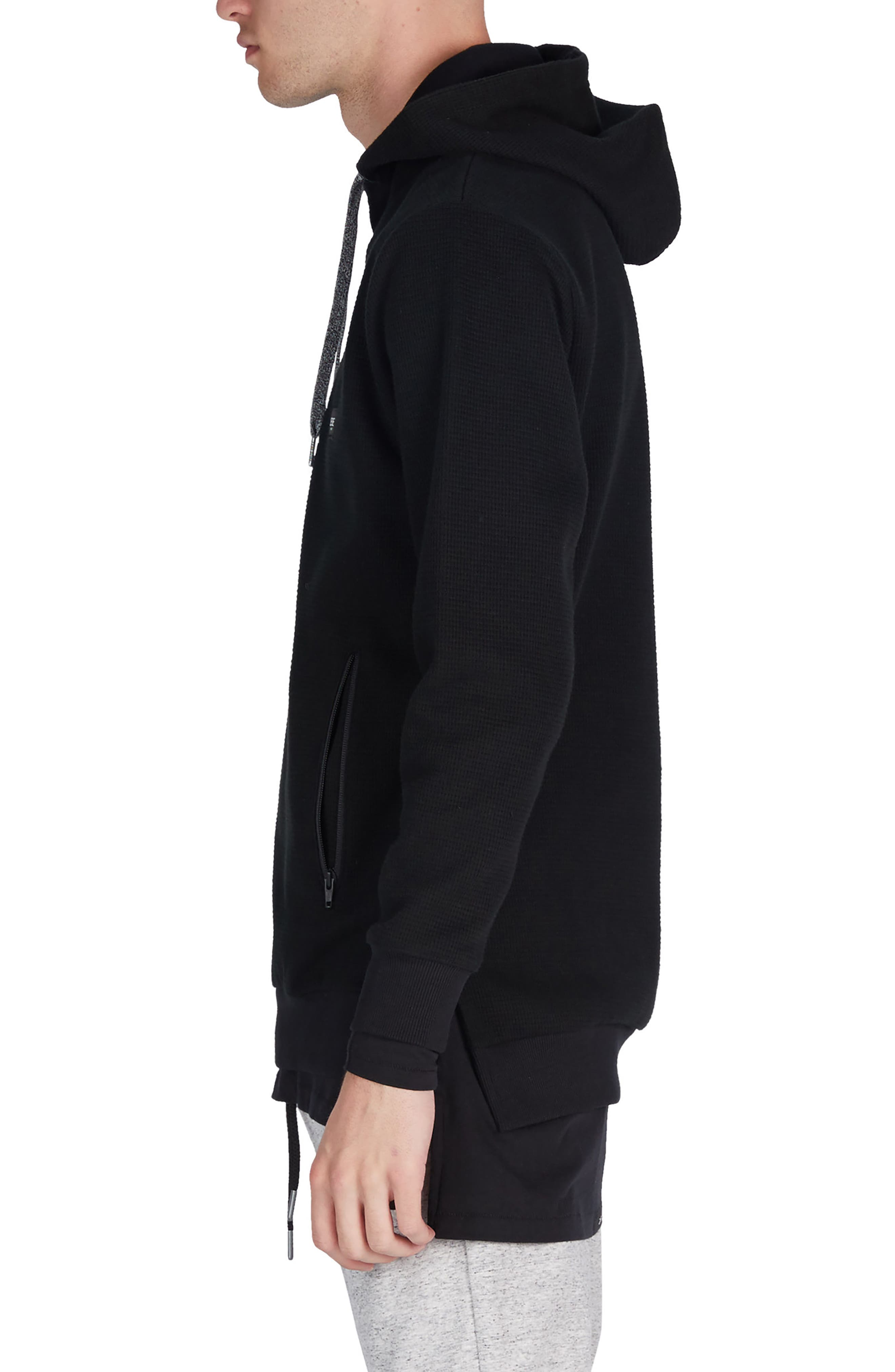 Waffle Knit Hoodie,                             Alternate thumbnail 3, color,                             001