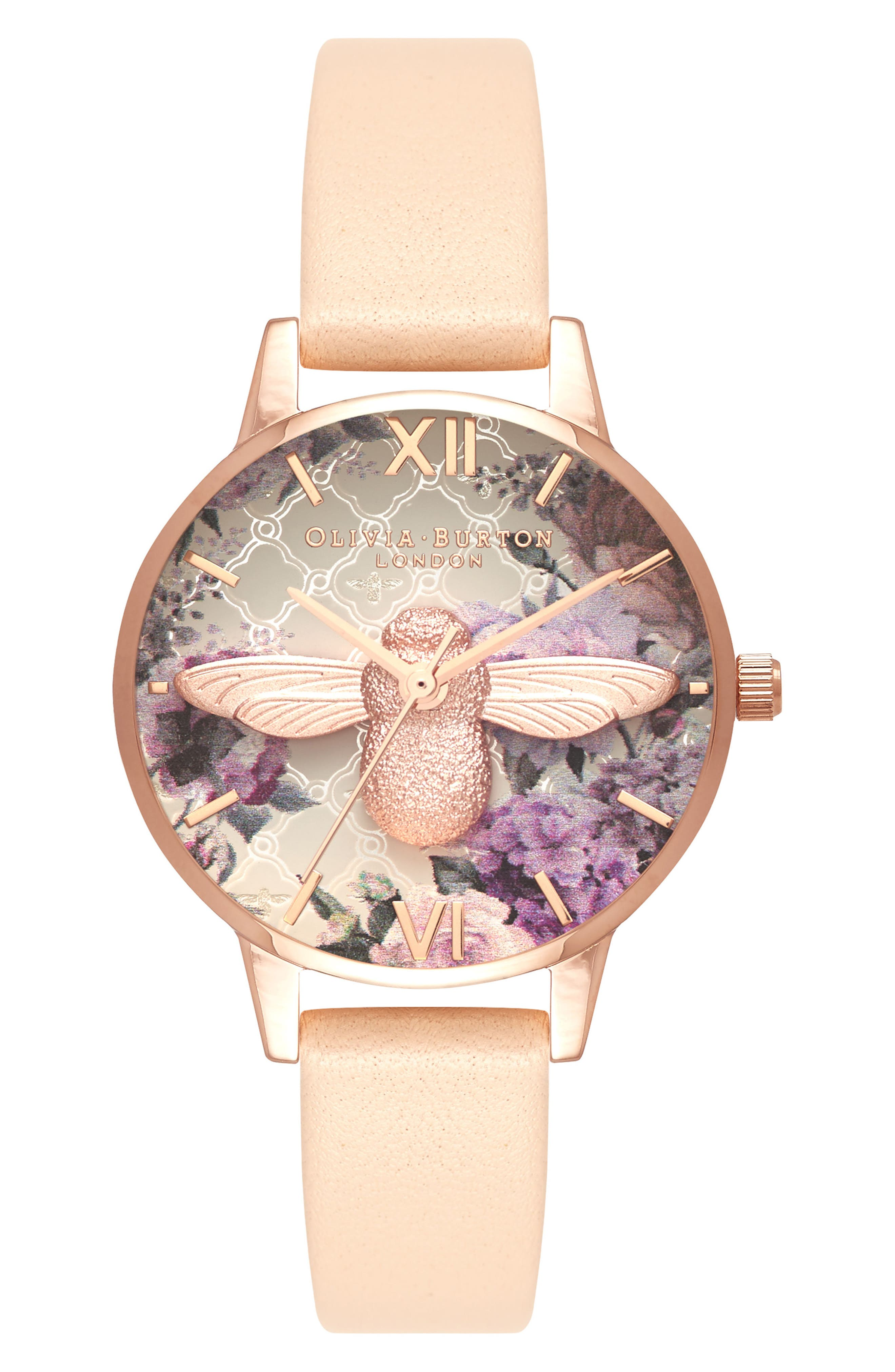 Glasshouse Leather Strap Watch, 30mm,                         Main,                         color, NUDE PEACH/ BEE/ ROSE GOLD