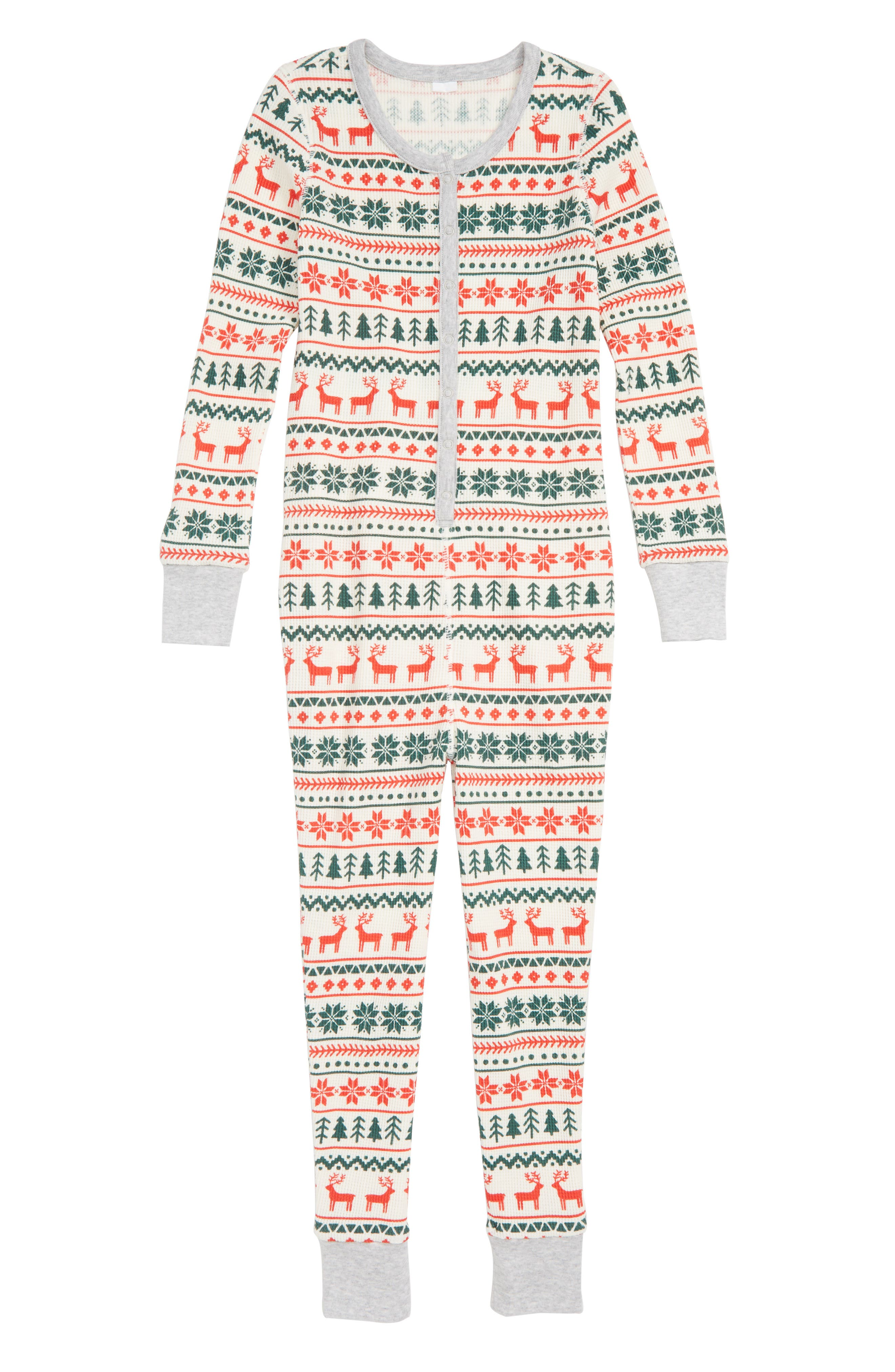 Kids Nordstrom Thermal Fitted OnePiece Pajamas Size 14  Ivory