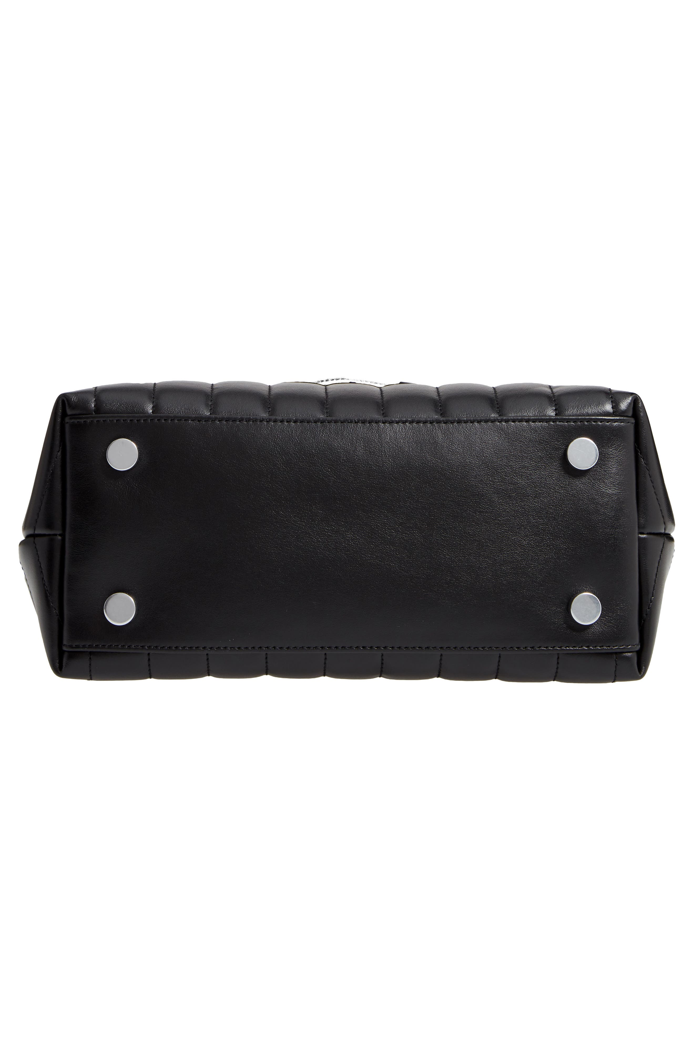 Loulou Leather Top Handle Satchel,                             Alternate thumbnail 6, color,                             NERO/ NERO