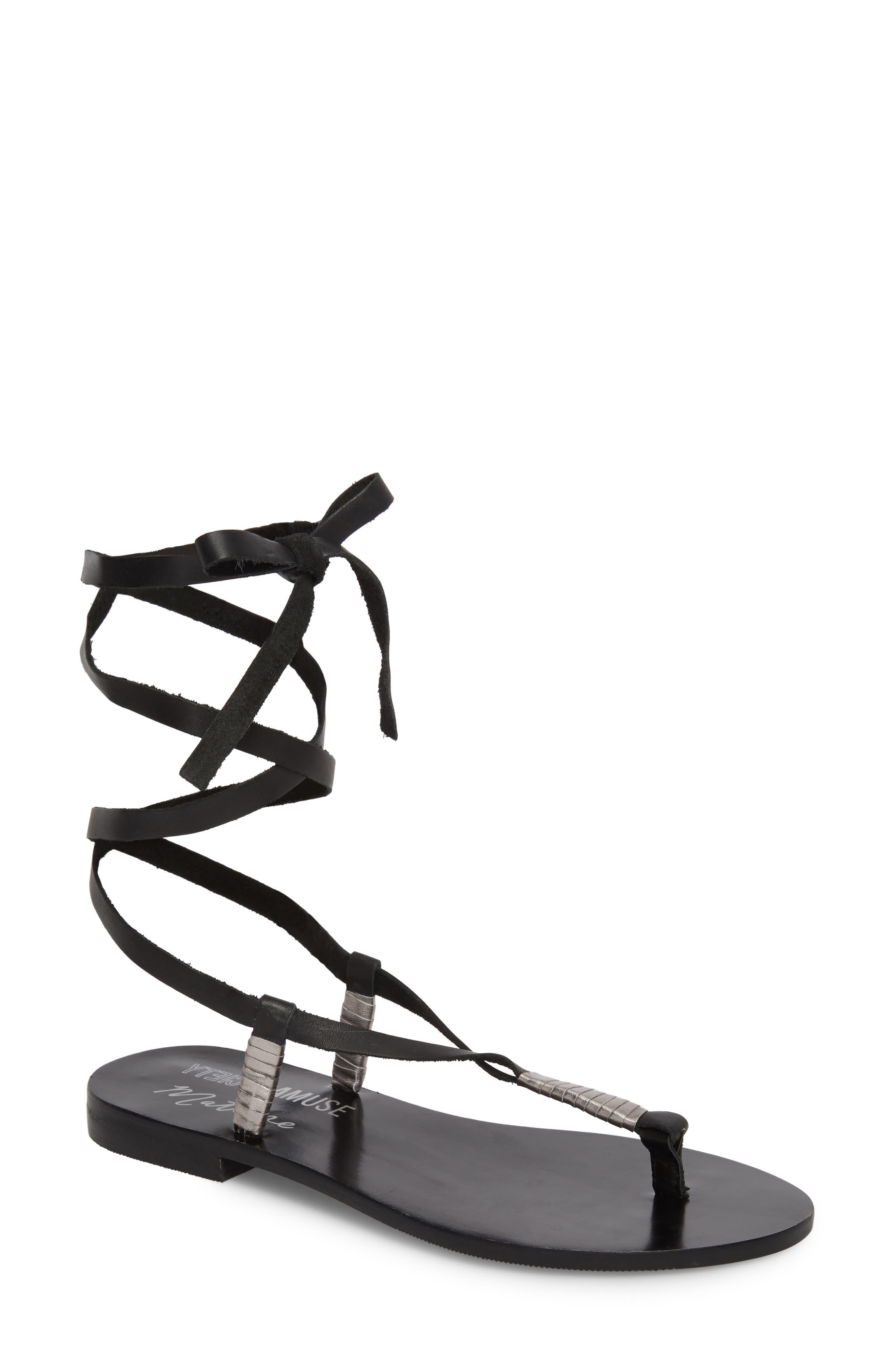 Amuse Society x Matisse Positano Sandal,                         Main,                         color, BLACK LEATHER