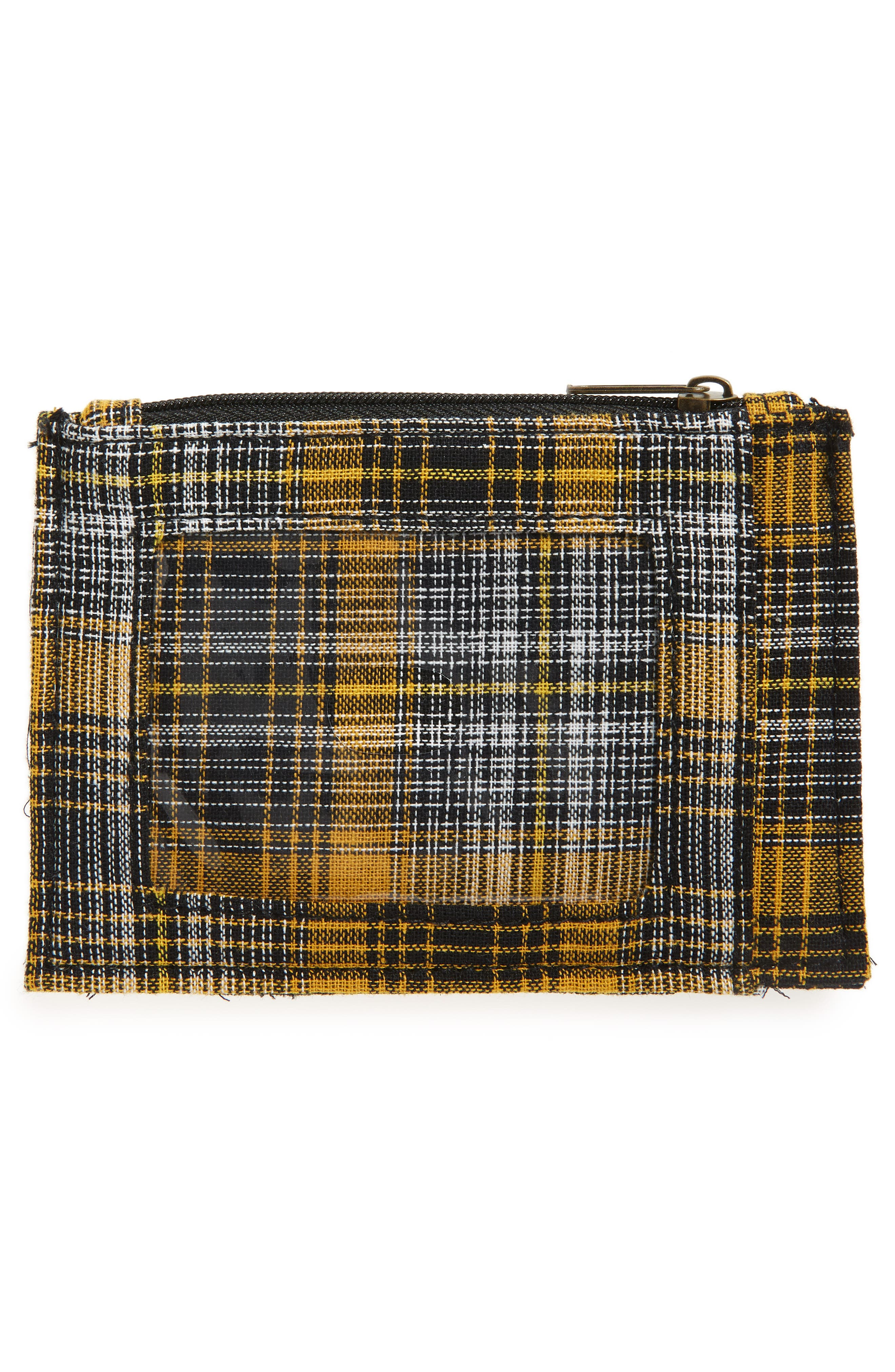 Plaid Zip Top Card Case,                             Alternate thumbnail 2, color,                             YELLOW/ RED/ BLACK MULTI