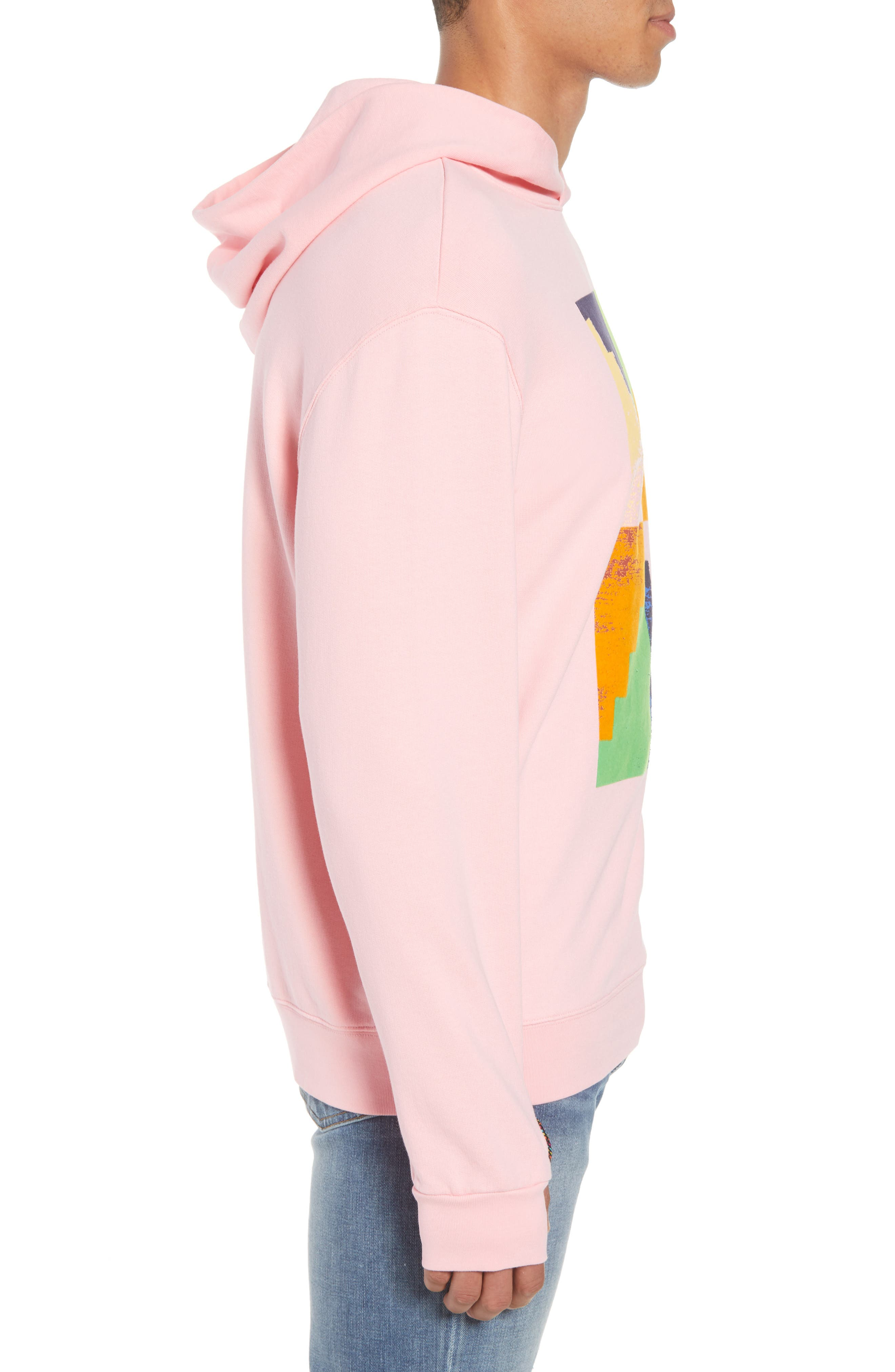 Pyramid Classic Fit Hoodie,                             Alternate thumbnail 3, color,                             CANDY PINK