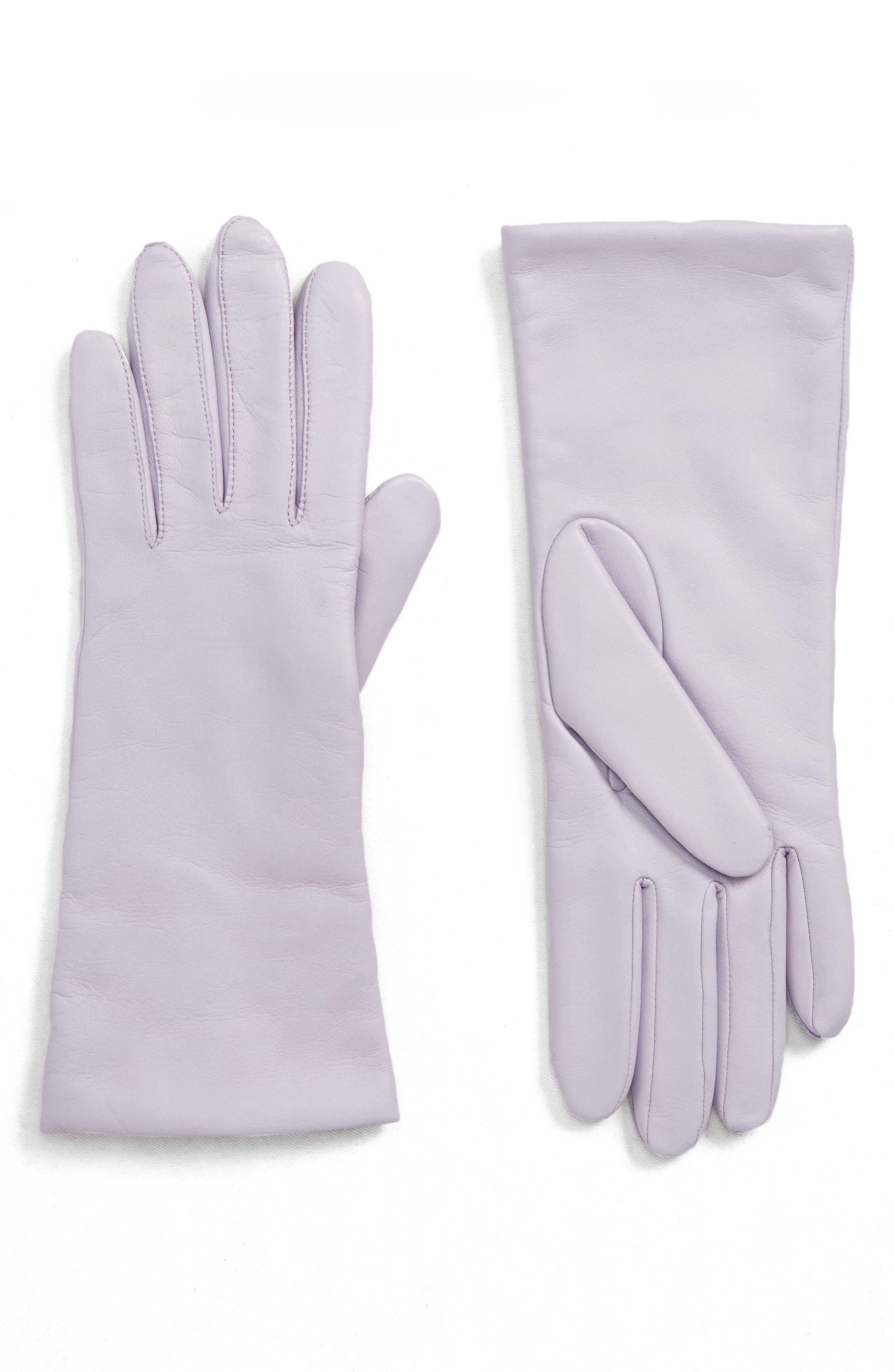 x Atlantic-Pacific Cashmere Lined Leather Gloves,                             Main thumbnail 1, color,                             PURPLE SECRET