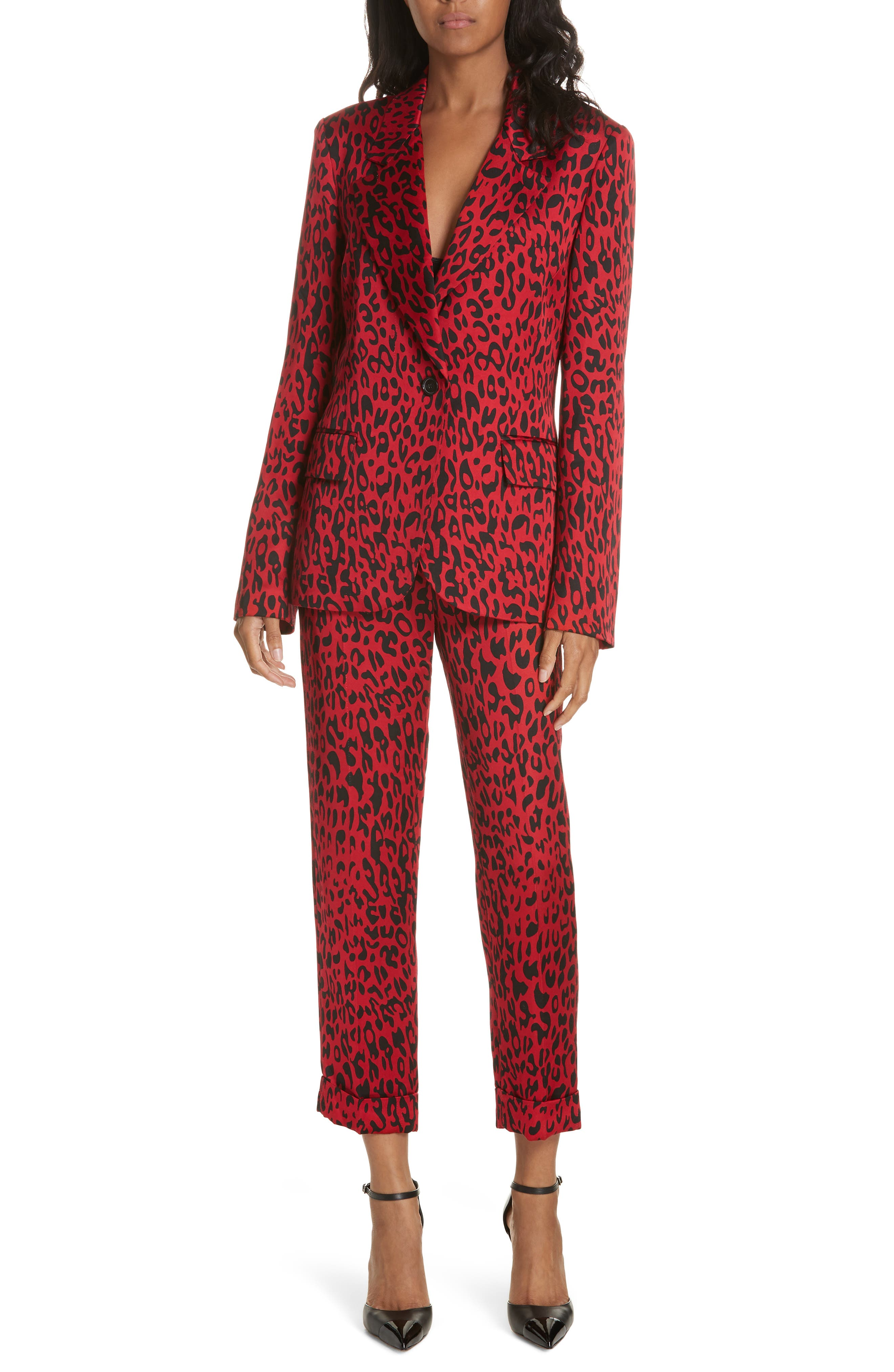 Leopard Print Trousers,                             Alternate thumbnail 7, color,                             RED LEOPARD