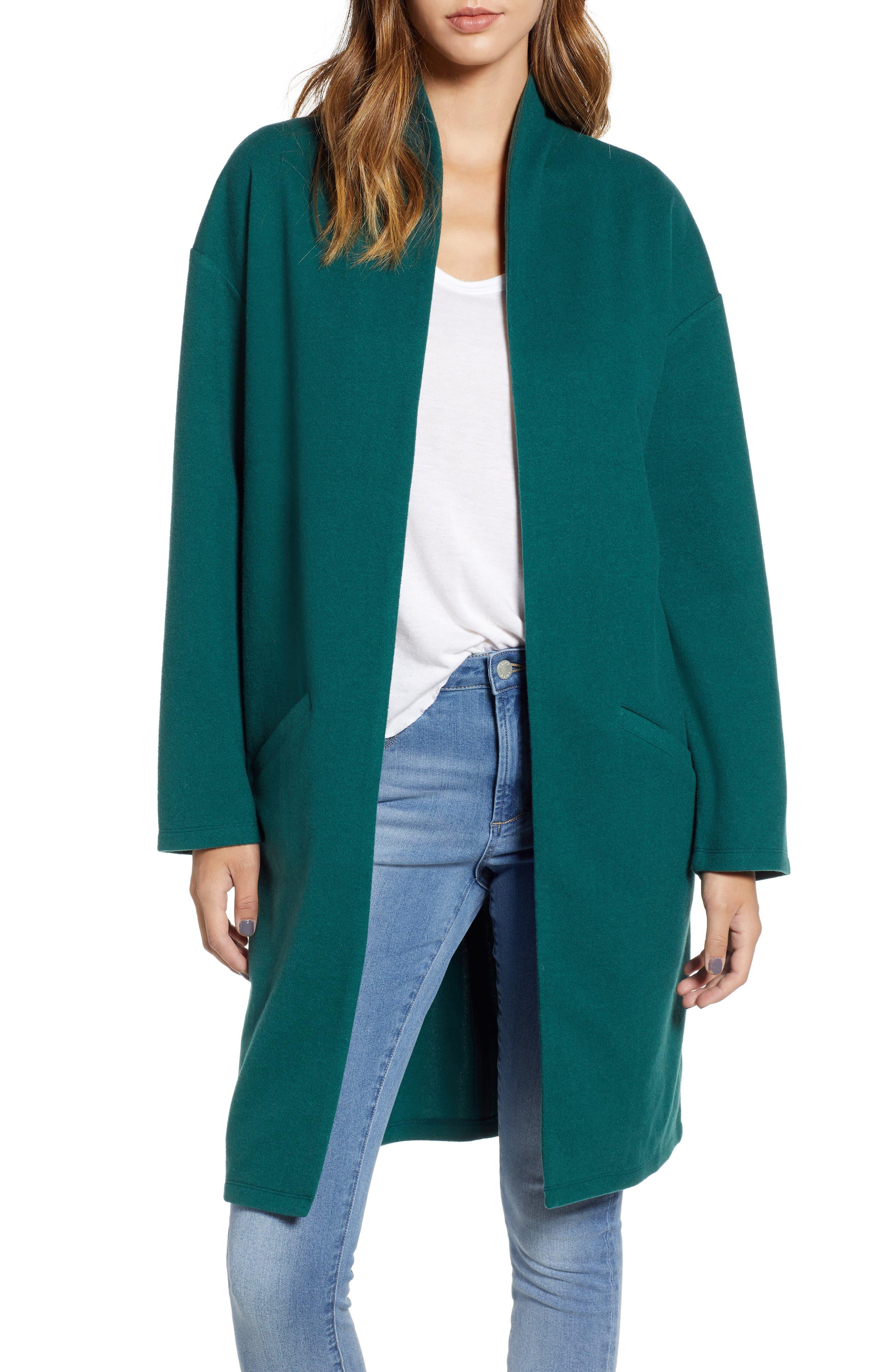 Open Front Midi Coat,                             Main thumbnail 1, color,                             GREEN BOTANICAL