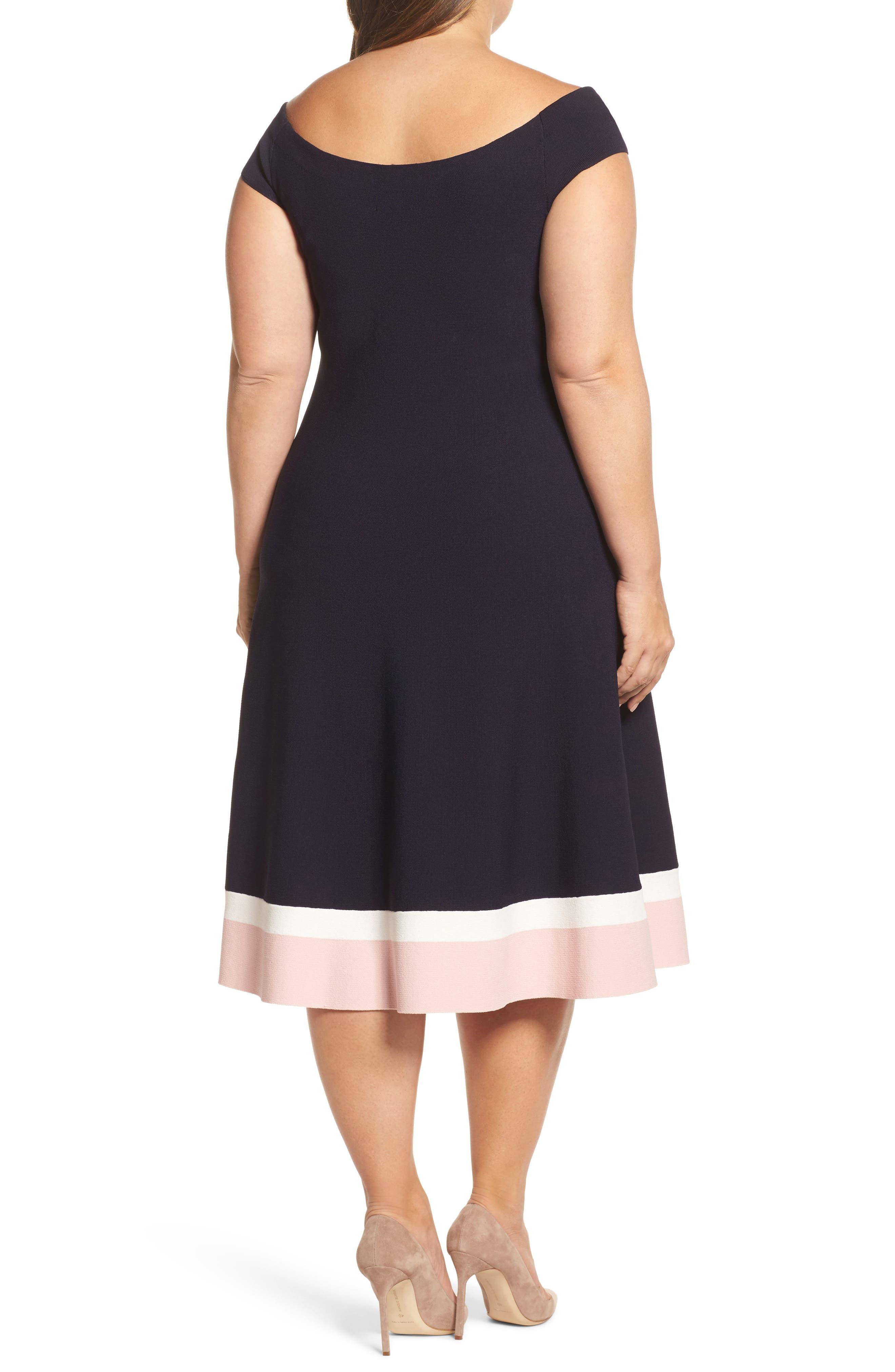 Off the Shoulder Fit & Flare Dress,                             Alternate thumbnail 2, color,                             410