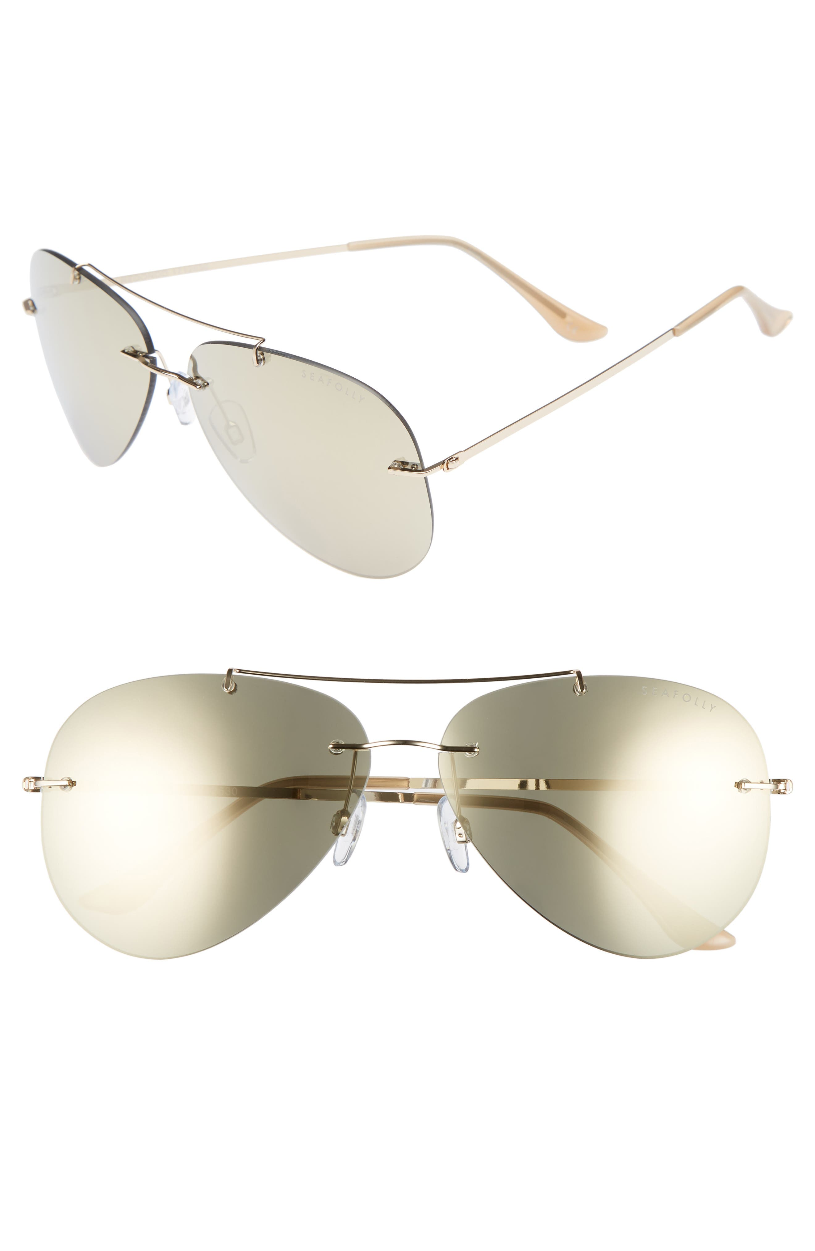 SEAFOLLY Redondo 61mm Rimless Aviator Sunglasses, Main, color, 710