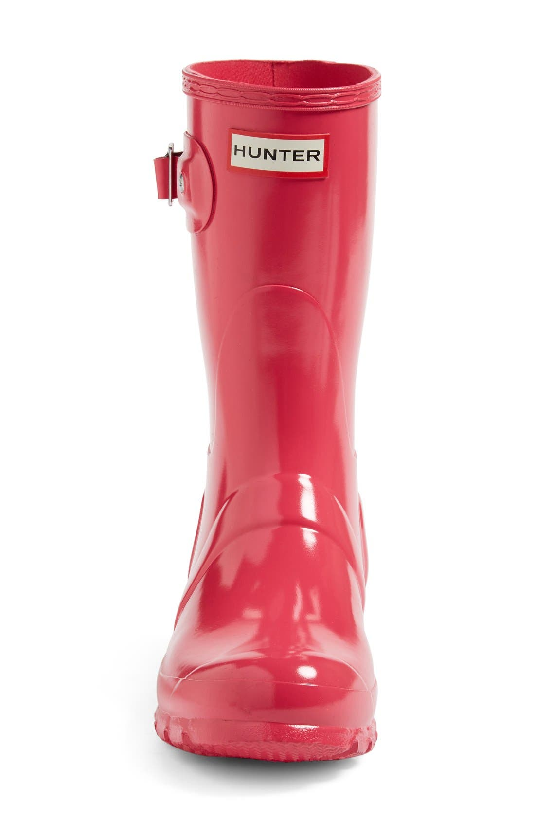 Original Short Gloss Rain Boot,                             Alternate thumbnail 3, color,                             BRIGHT PINK
