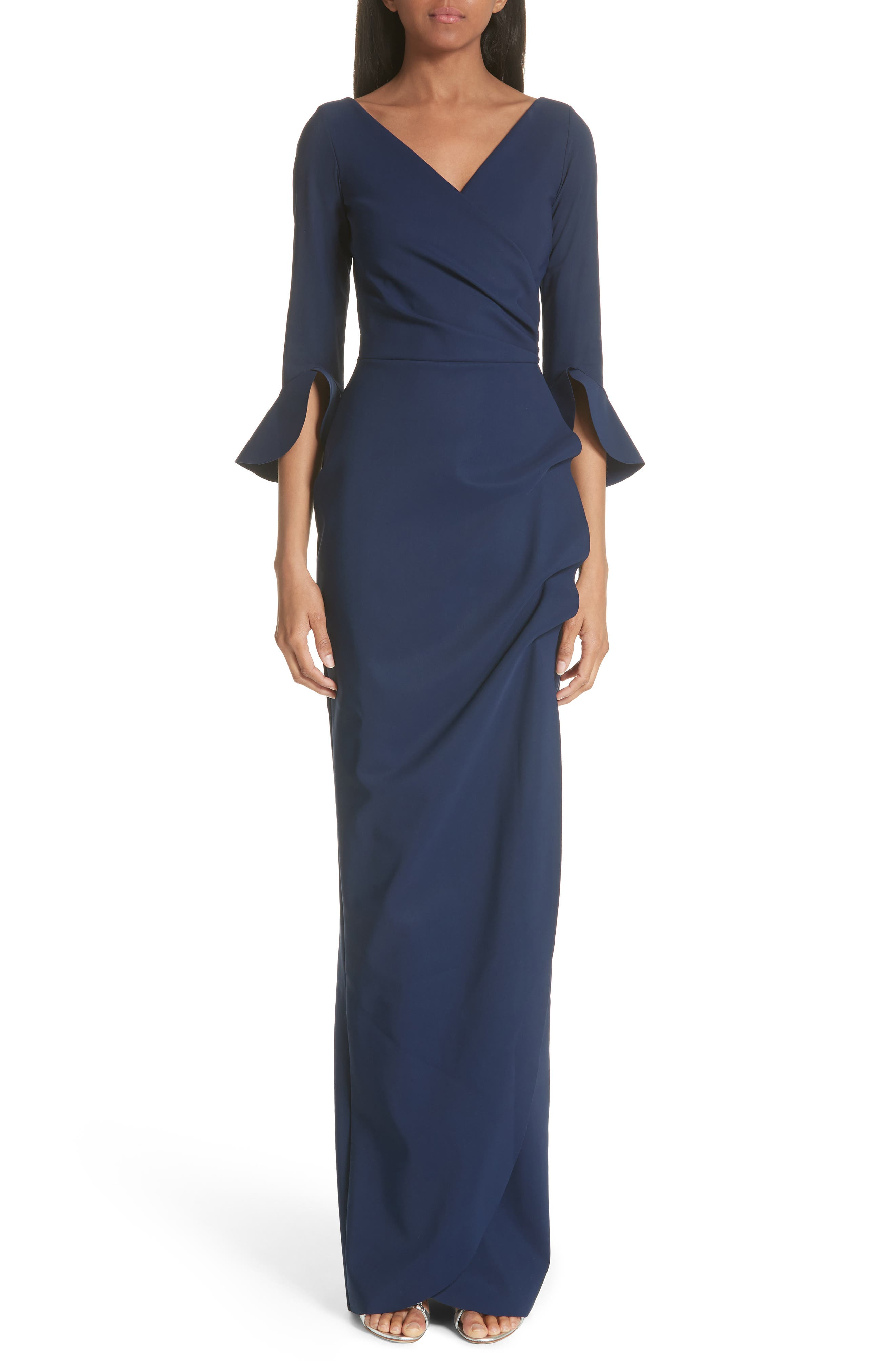 Ruched Bell Sleeve Evening Dress,                         Main,                         color, BLUE NOTTE