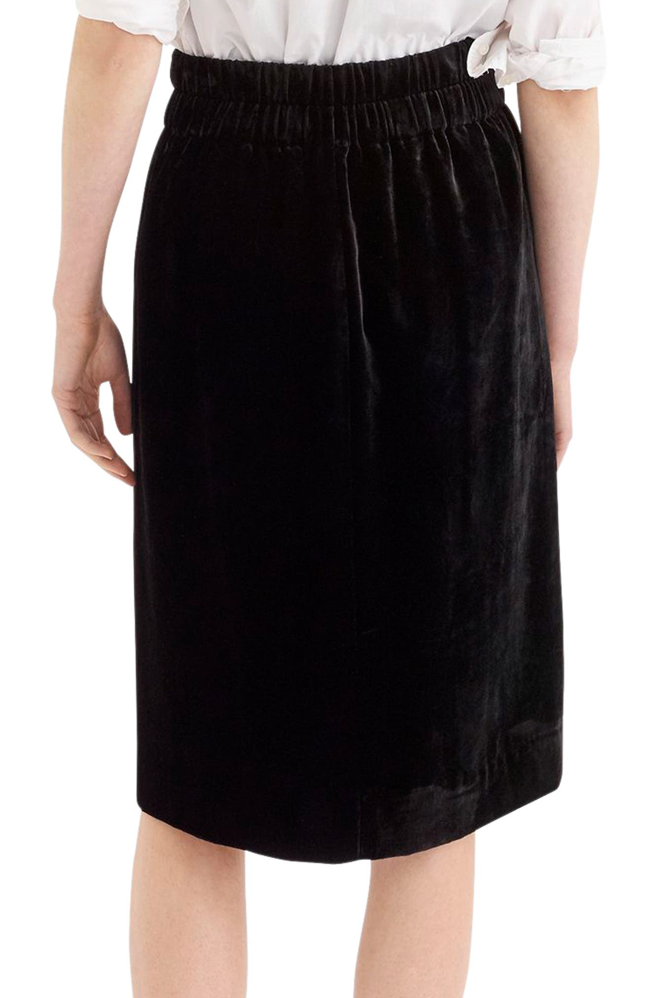 Pull-On Velvet Skirt,                             Alternate thumbnail 2, color,                             BLACK