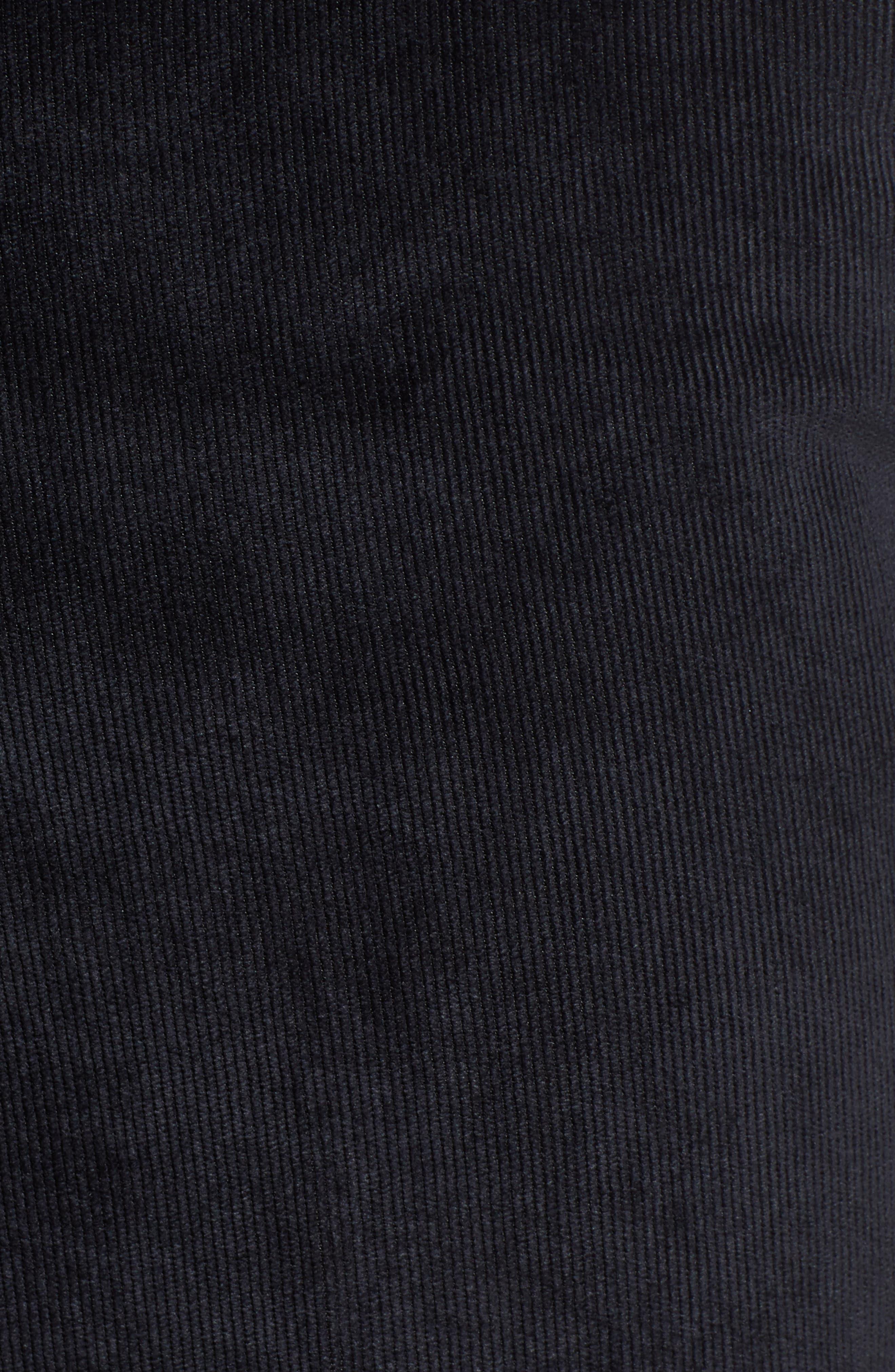 Classic Fit Flat Front Corduroy Trousers,                             Alternate thumbnail 5, color,                             BLACK