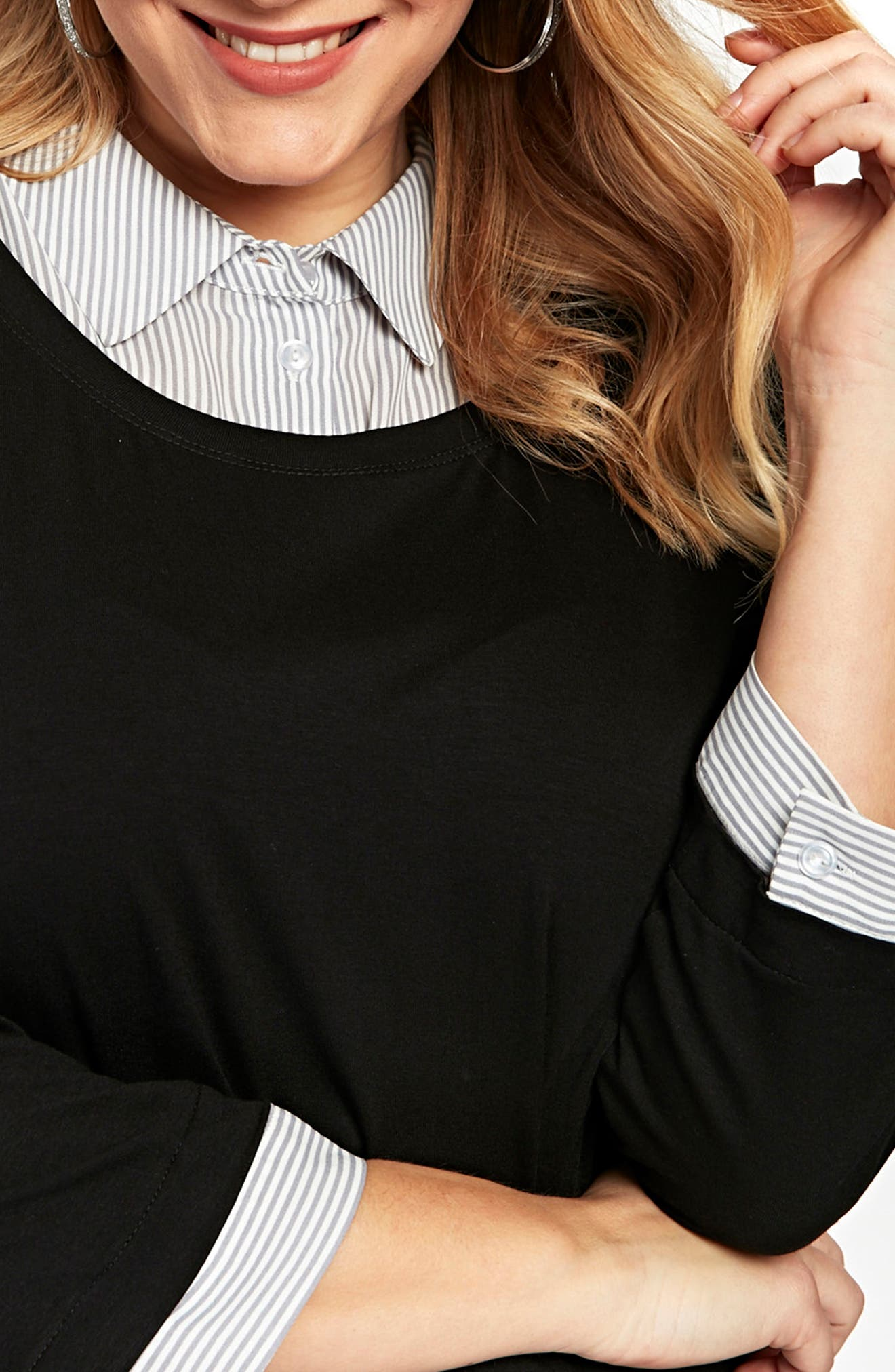 Stripe & Solid 2-in-1 Shirt,                             Alternate thumbnail 2, color,