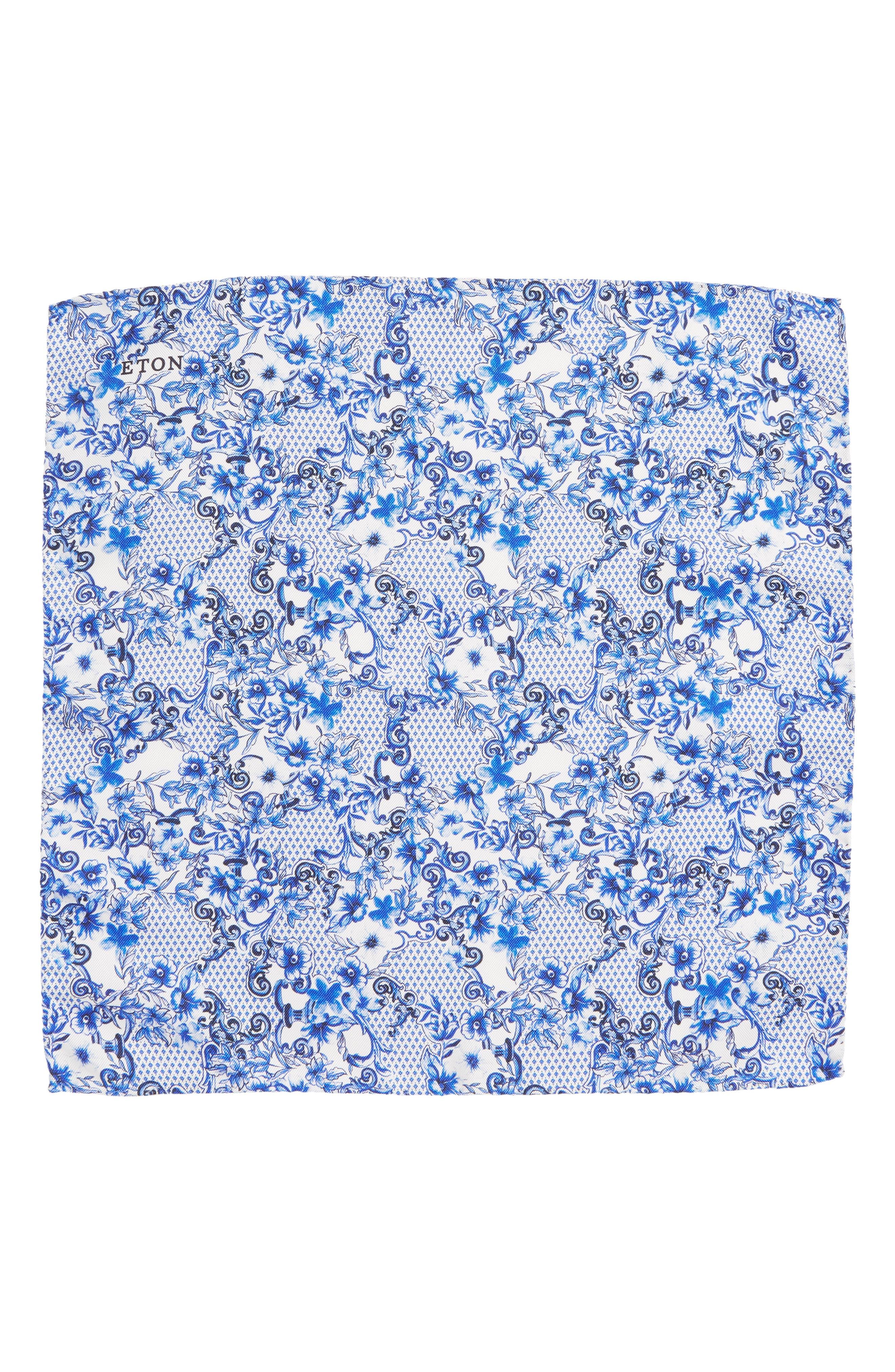 Floral Tile Silk Pocket Square,                             Alternate thumbnail 2, color,                             400