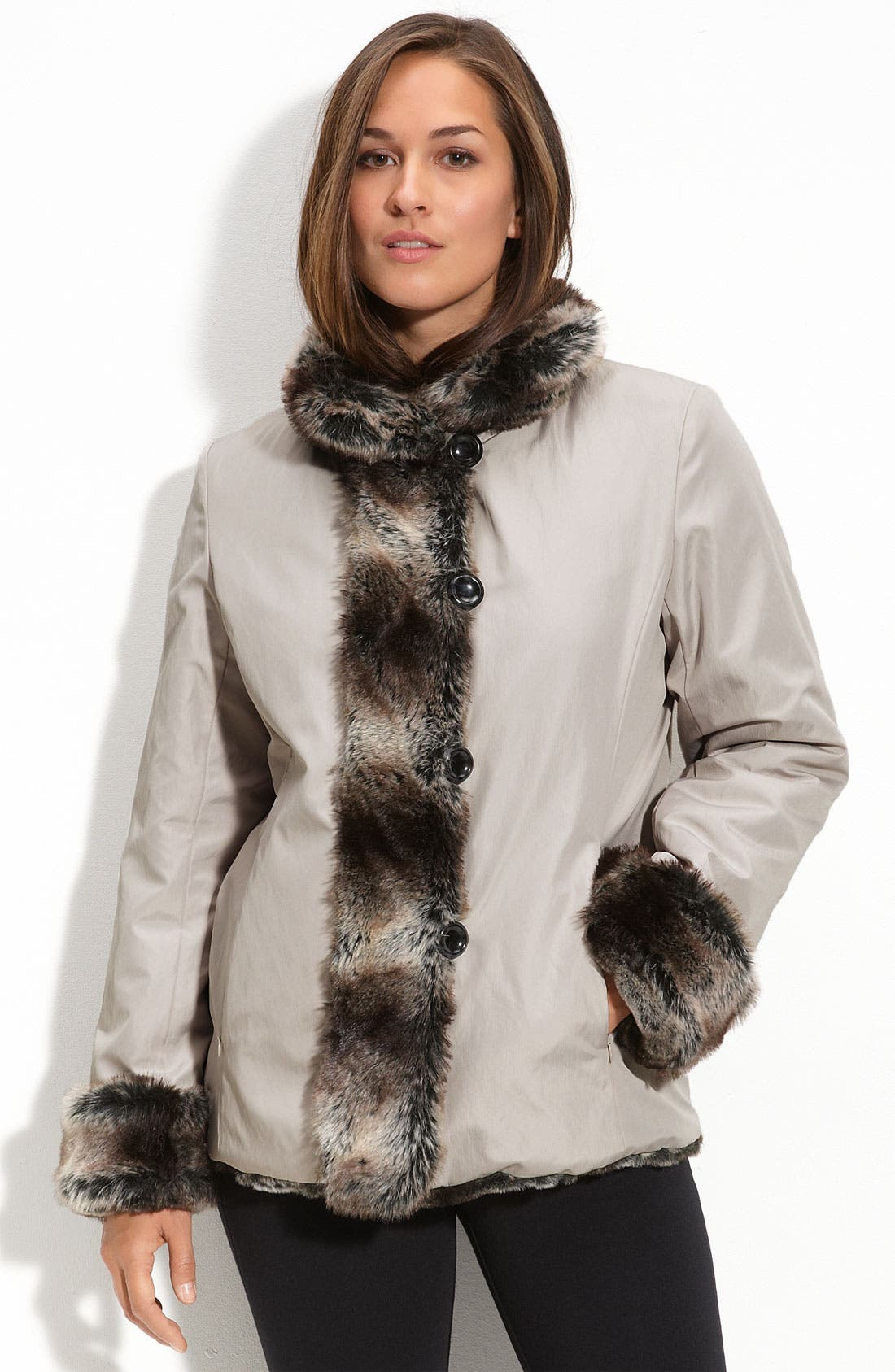 Utex Reversible Faux Fur Coat,                             Main thumbnail 1, color,                             040