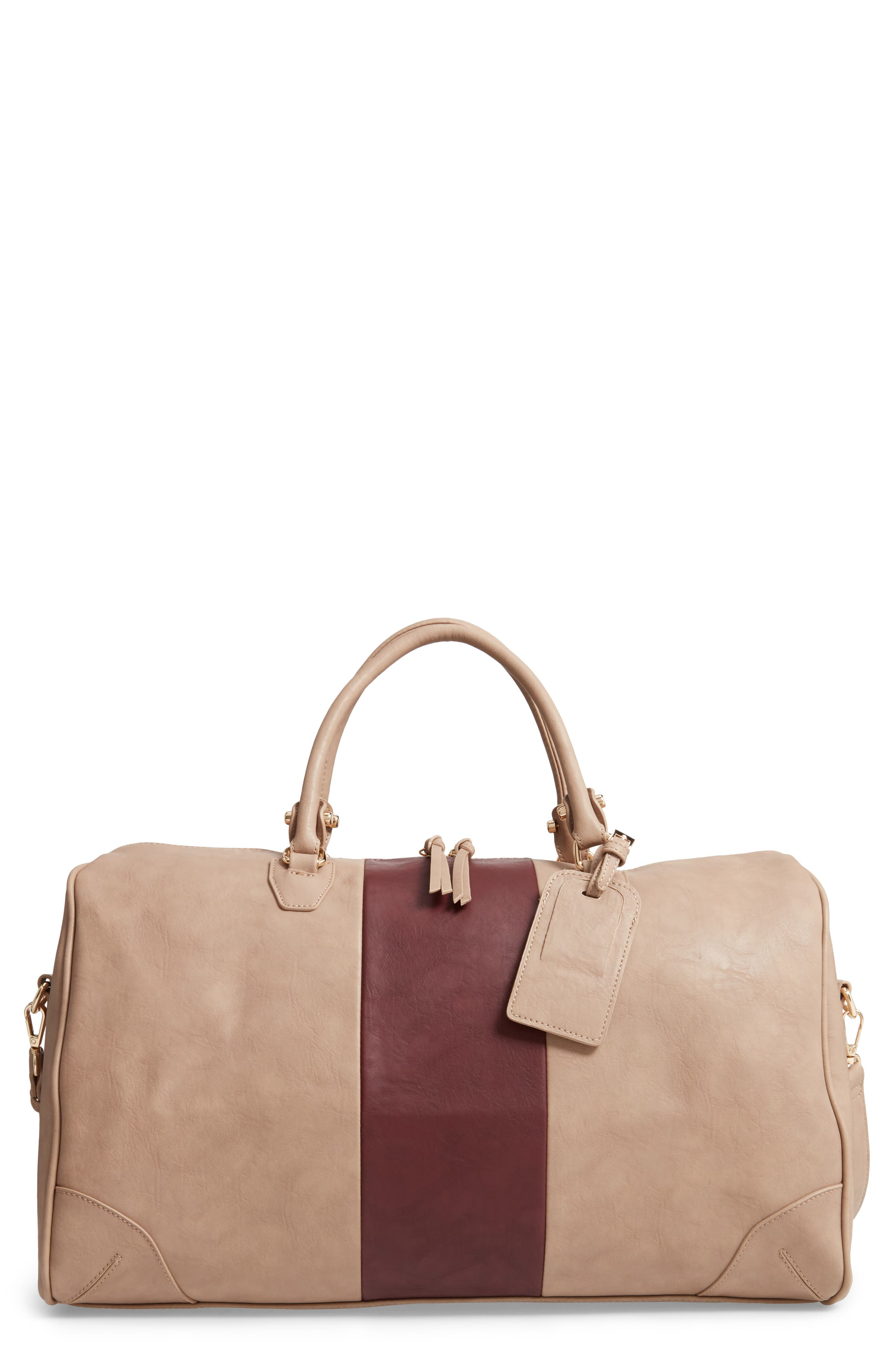 'Robin' Faux Leather Weekend Bag,                             Main thumbnail 1, color,                             TAUPE