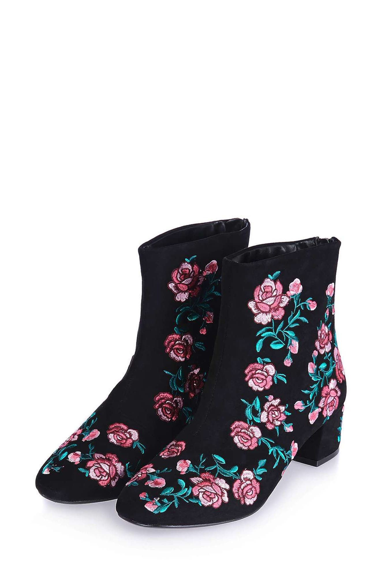 Blossom Embroidered Bootie,                             Main thumbnail 1, color,                             650