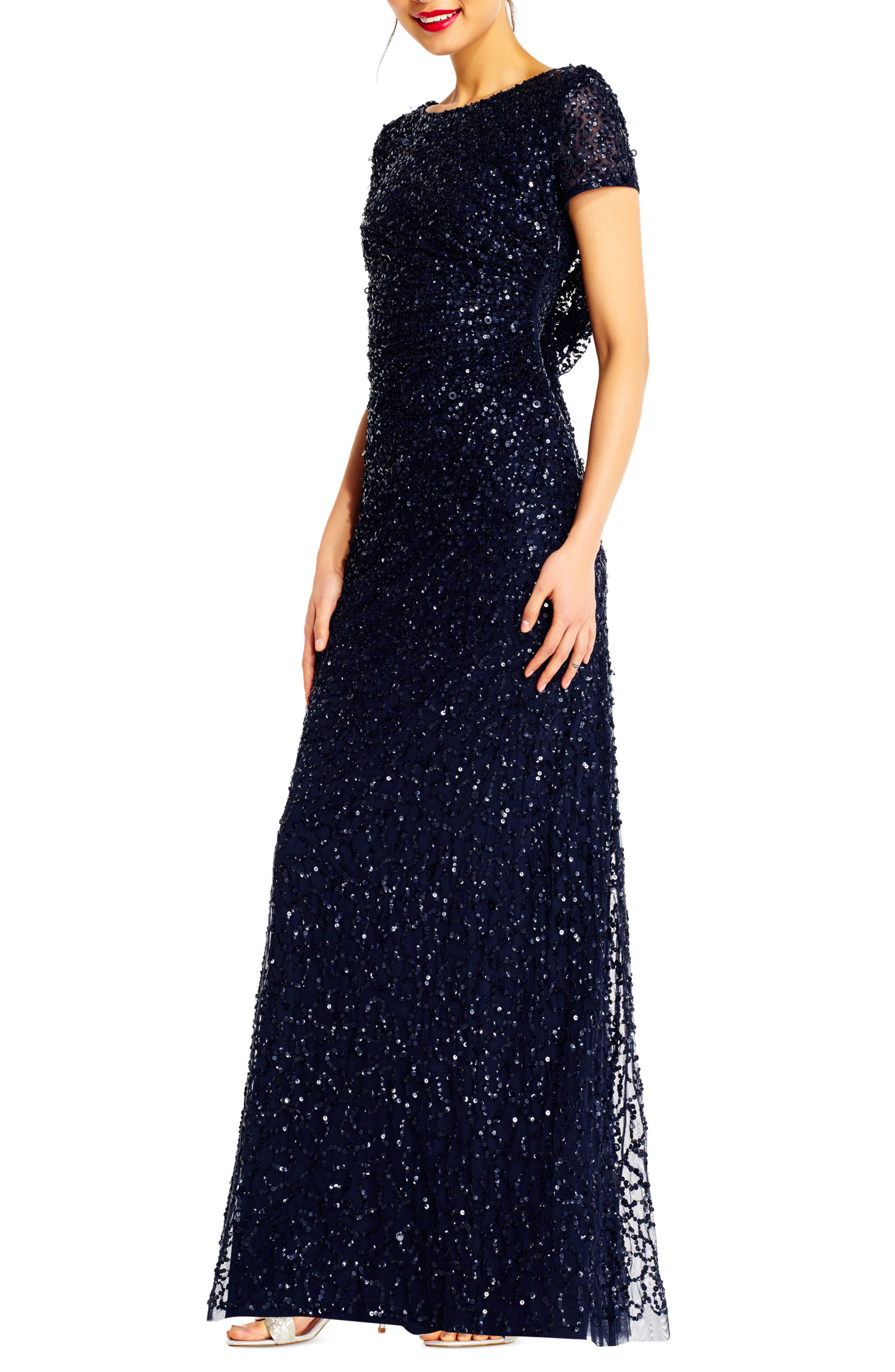 Sequin Cowl Back Gown,                             Alternate thumbnail 14, color,