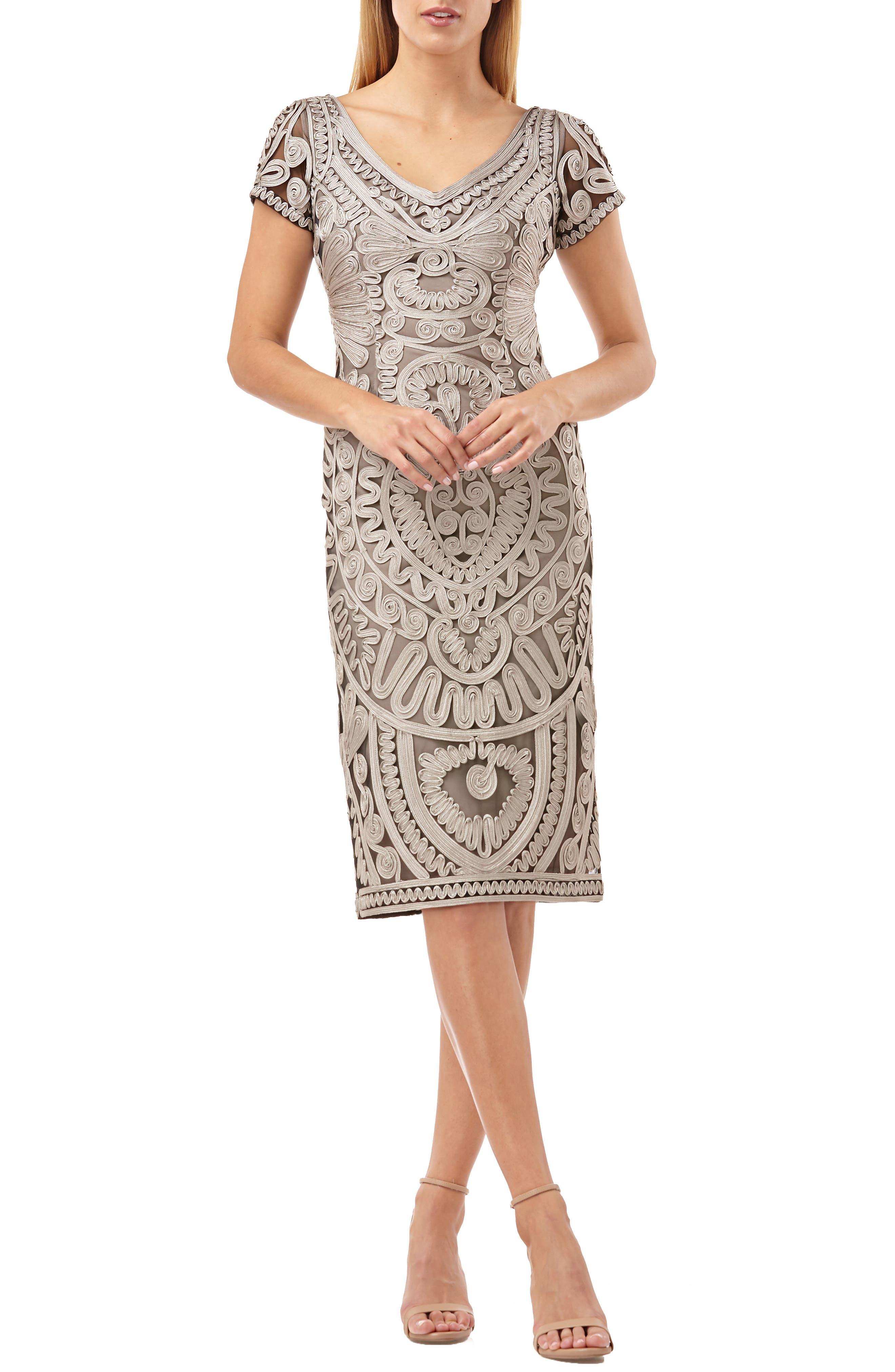 Js Collections Short Sleeve Soutache Mesh Cocktail Dress, Grey