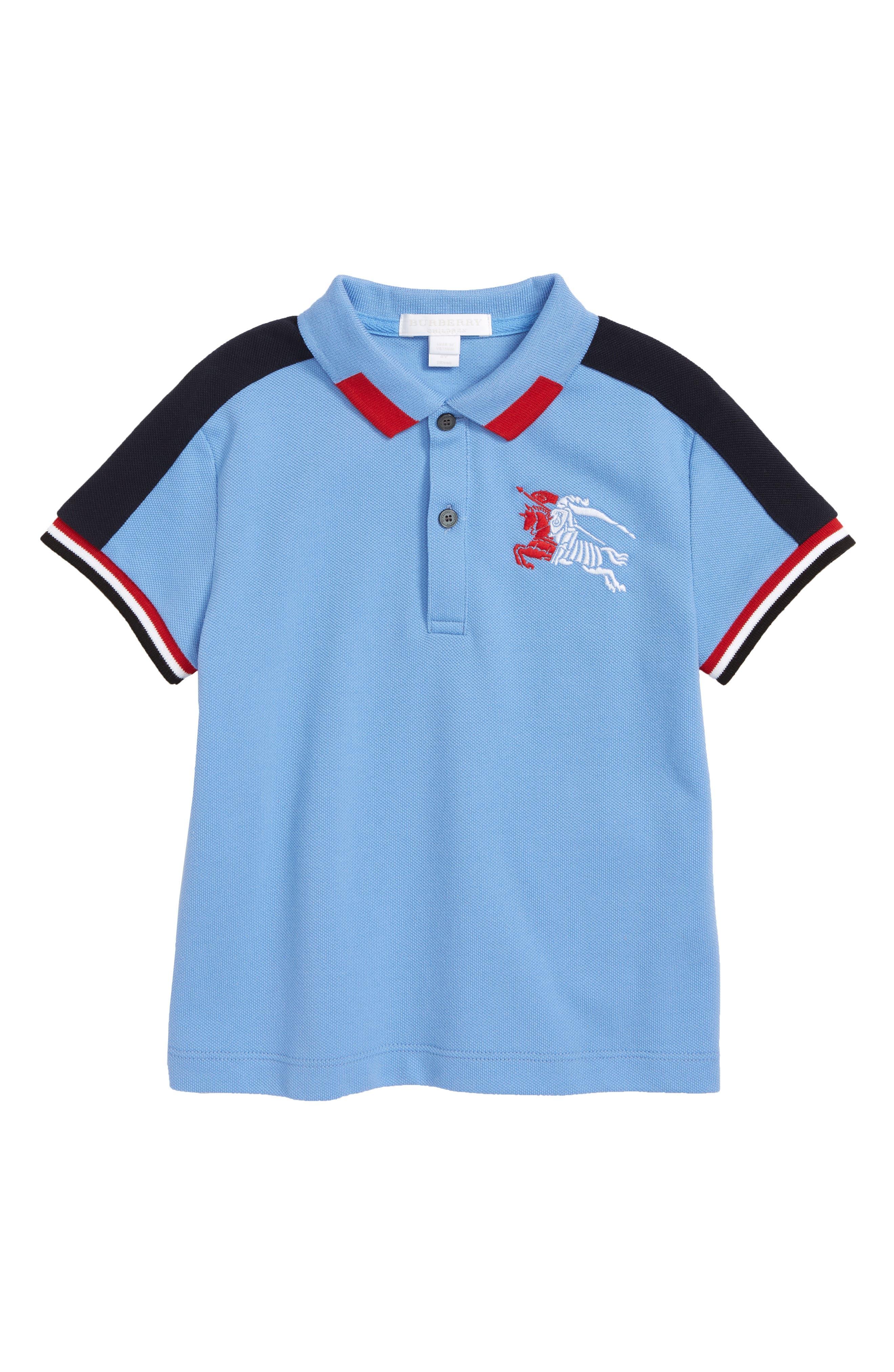 Stripe Detail Polo,                             Main thumbnail 1, color,                             HYDRANGEA BLUE