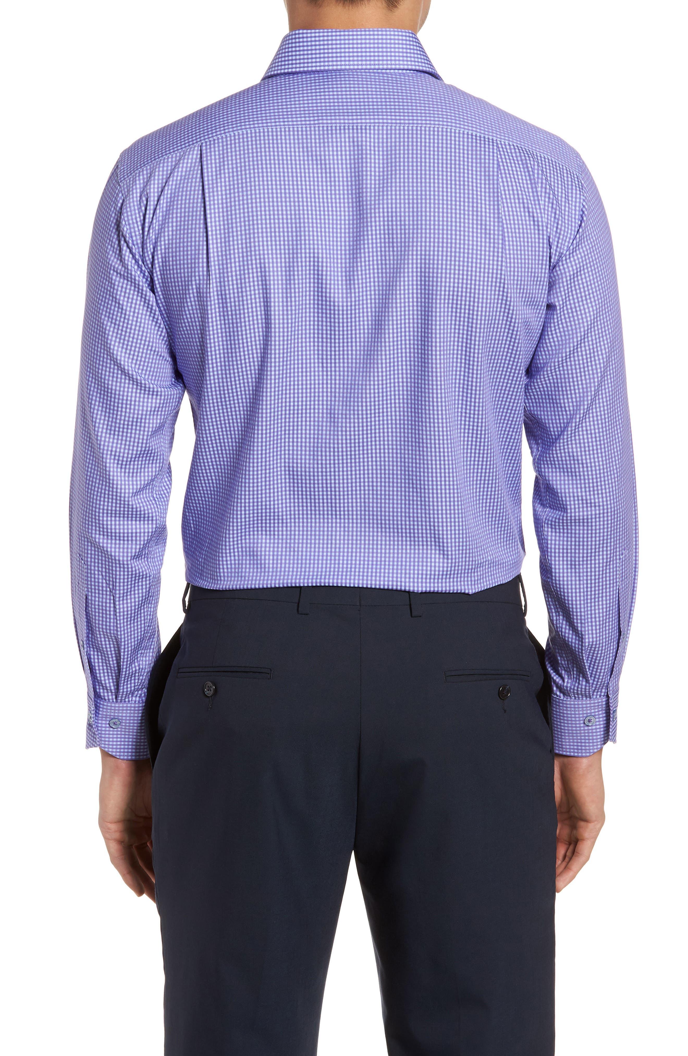 Trim Fit Mini Check Dress Shirt,                             Alternate thumbnail 3, color,                             PURPLE