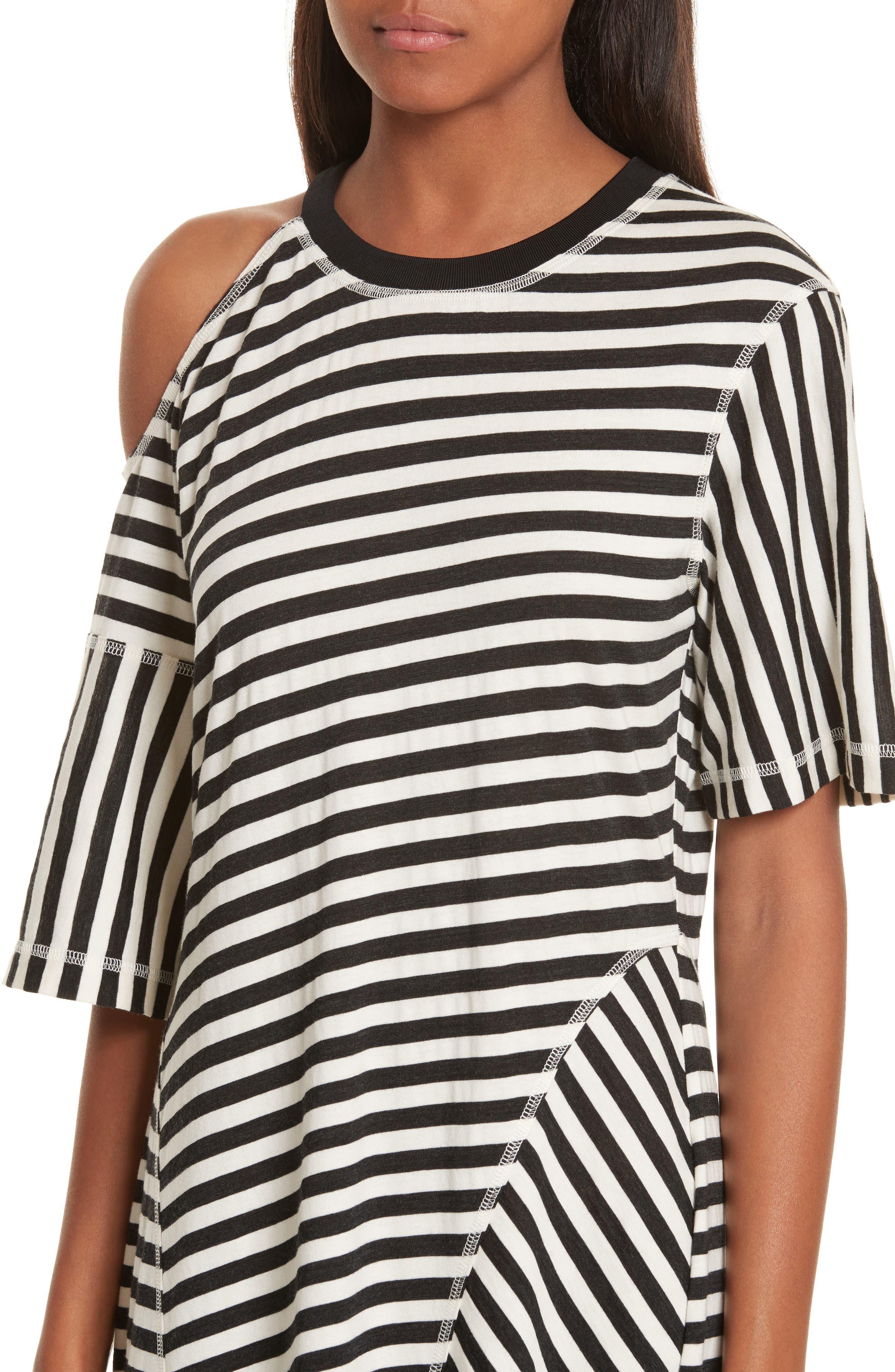 Stripe Jersey Cold Shoulder Dress,                             Alternate thumbnail 4, color,                             001