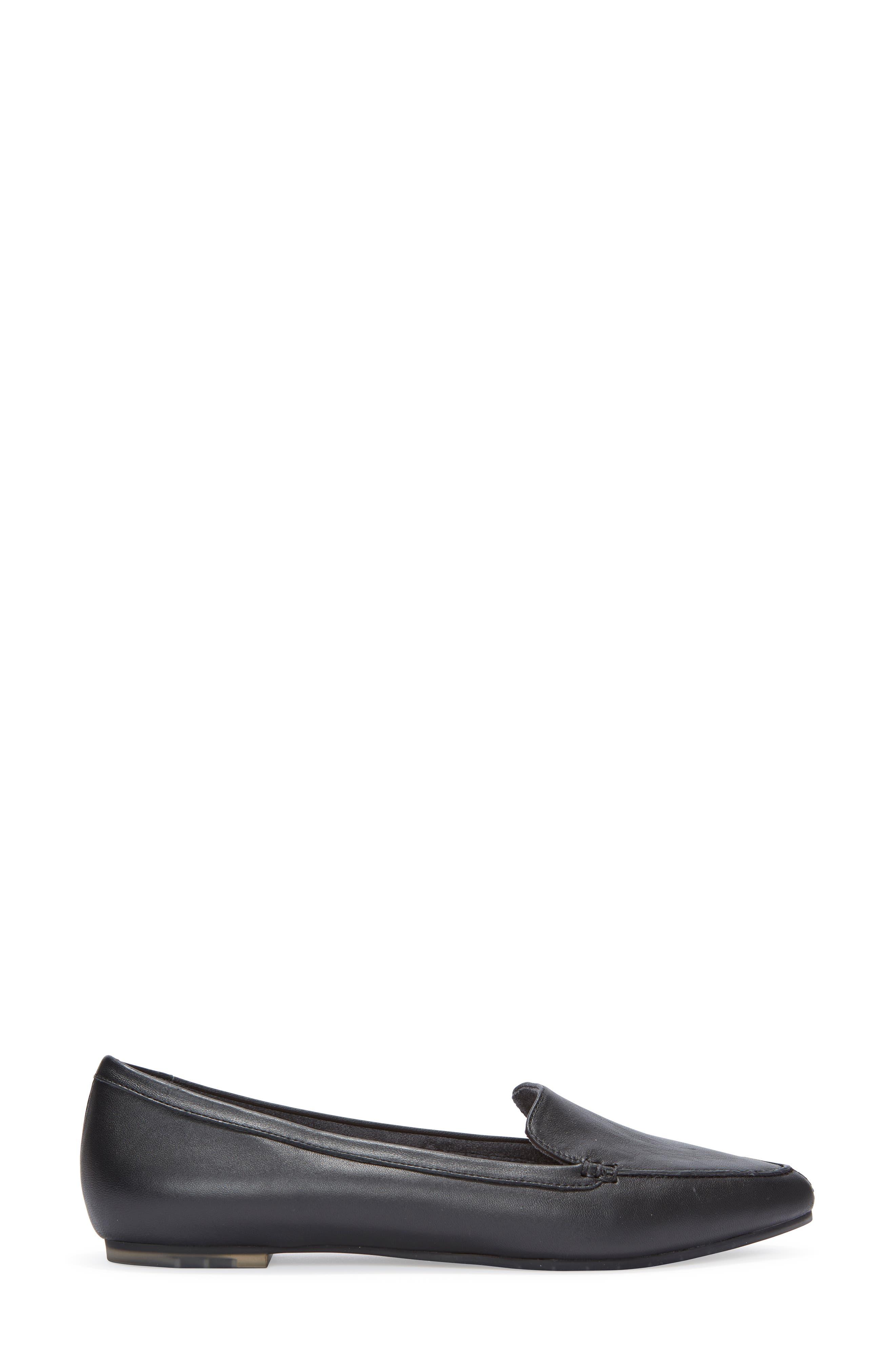 Audra Loafer Flat,                             Alternate thumbnail 3, color,                             BLACK/ BLACK LEATHER