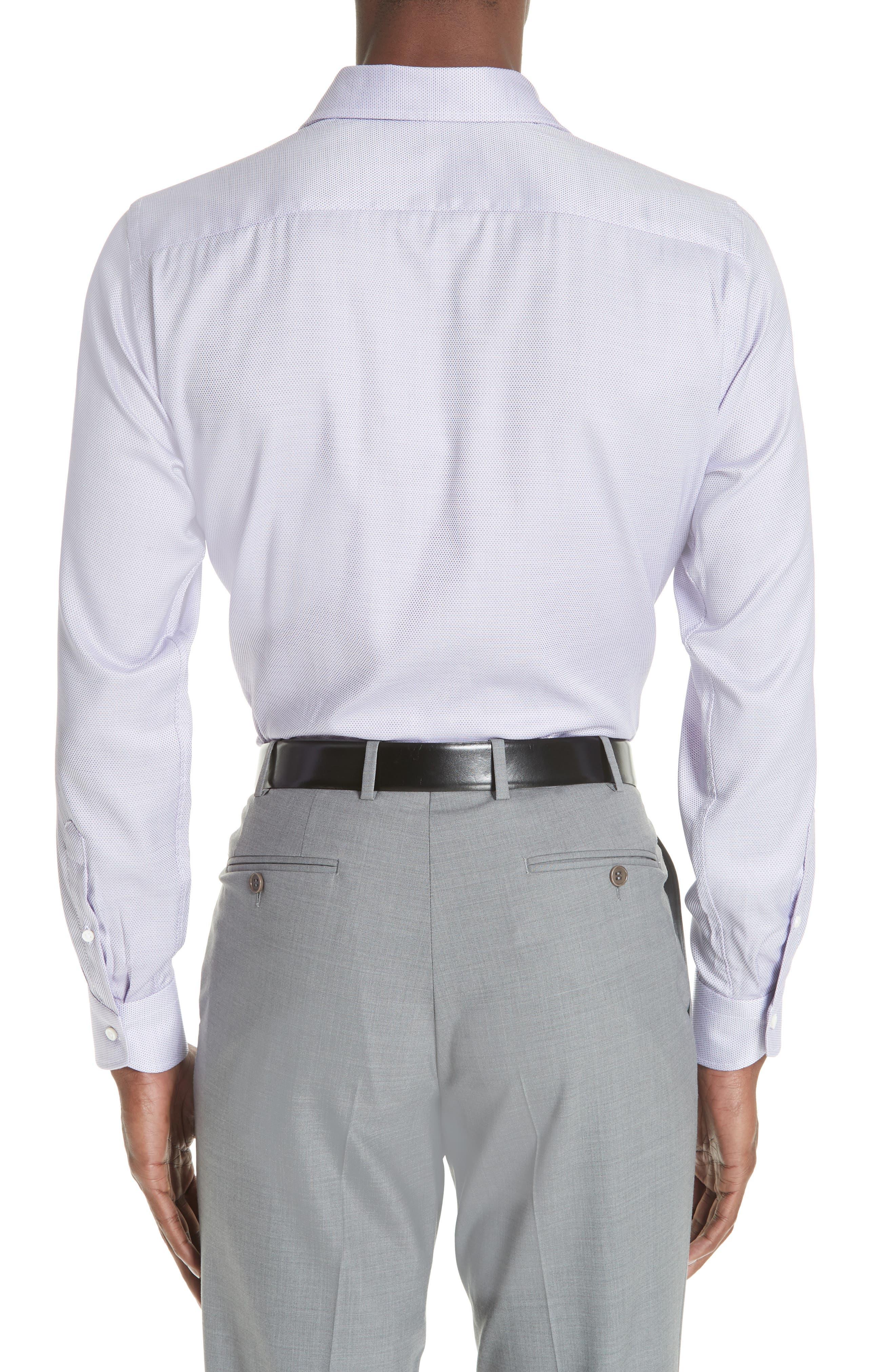 Trim Fit Dress Shirt,                             Alternate thumbnail 3, color,                             LIGHT PURPLE