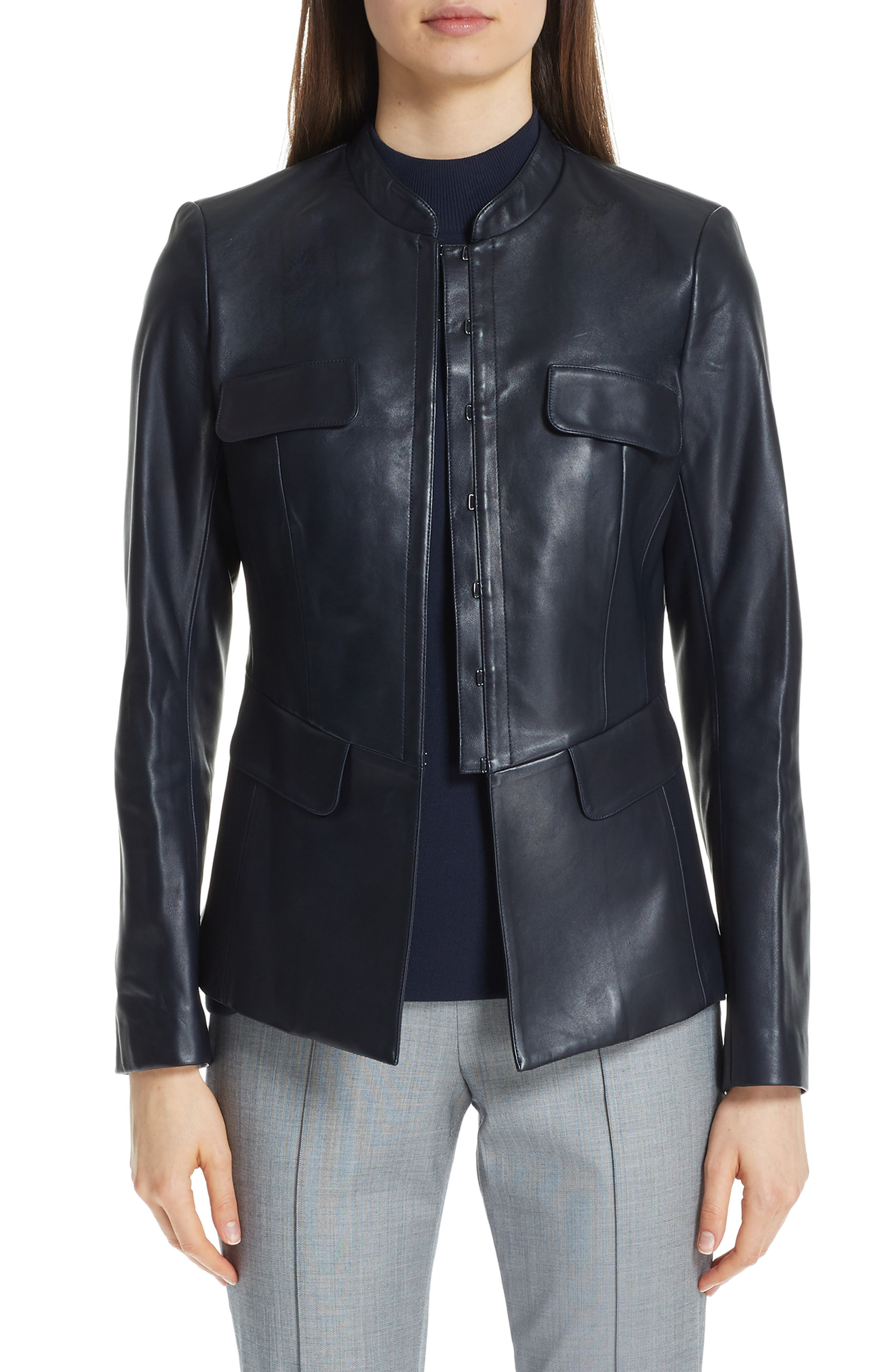Shirt-Collar Hook-Front Leather Jacket W/ Pocket Flaps in Navy