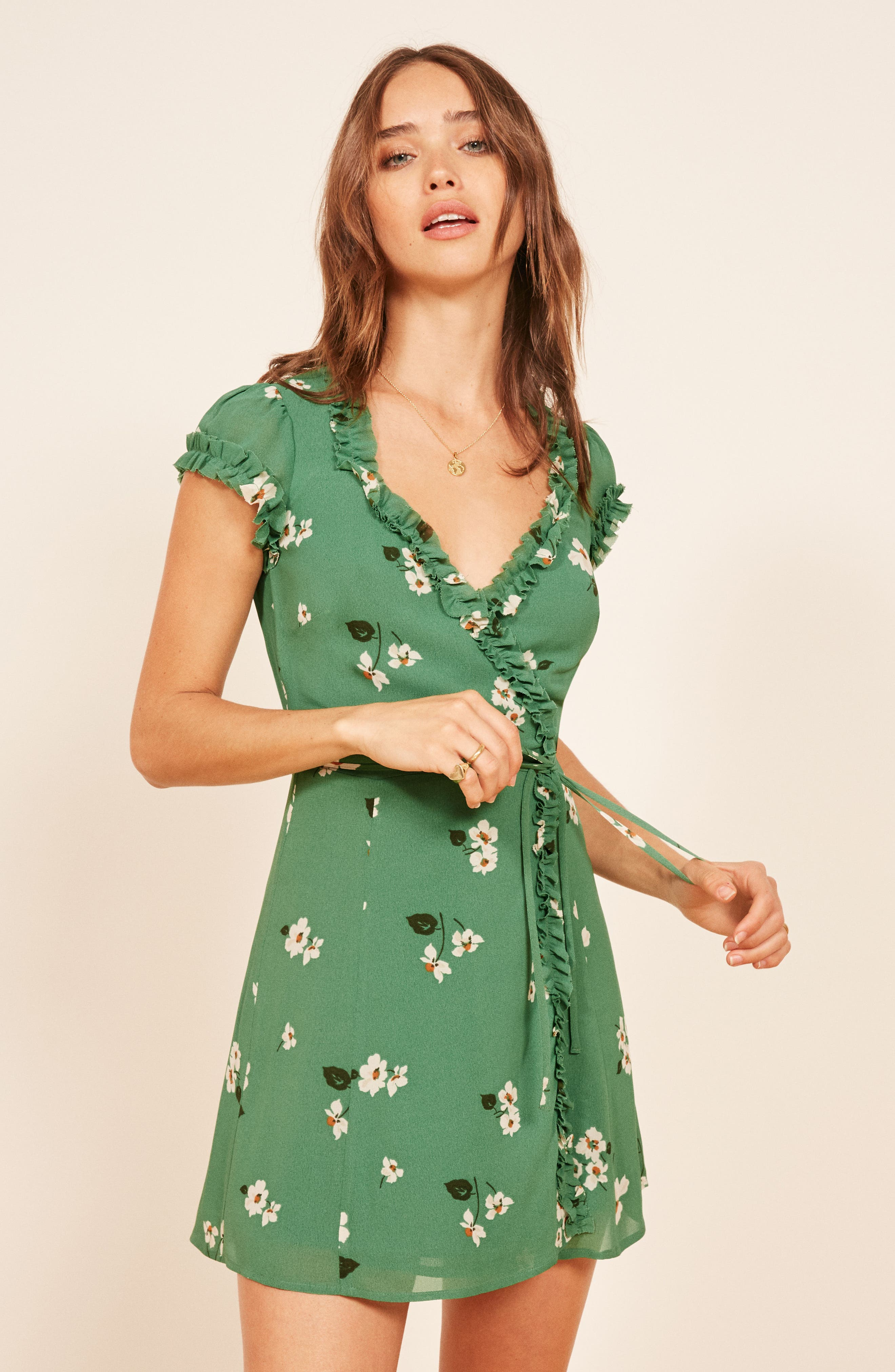 Garnet Floral Wrap Minidress,                             Alternate thumbnail 6, color,                             300