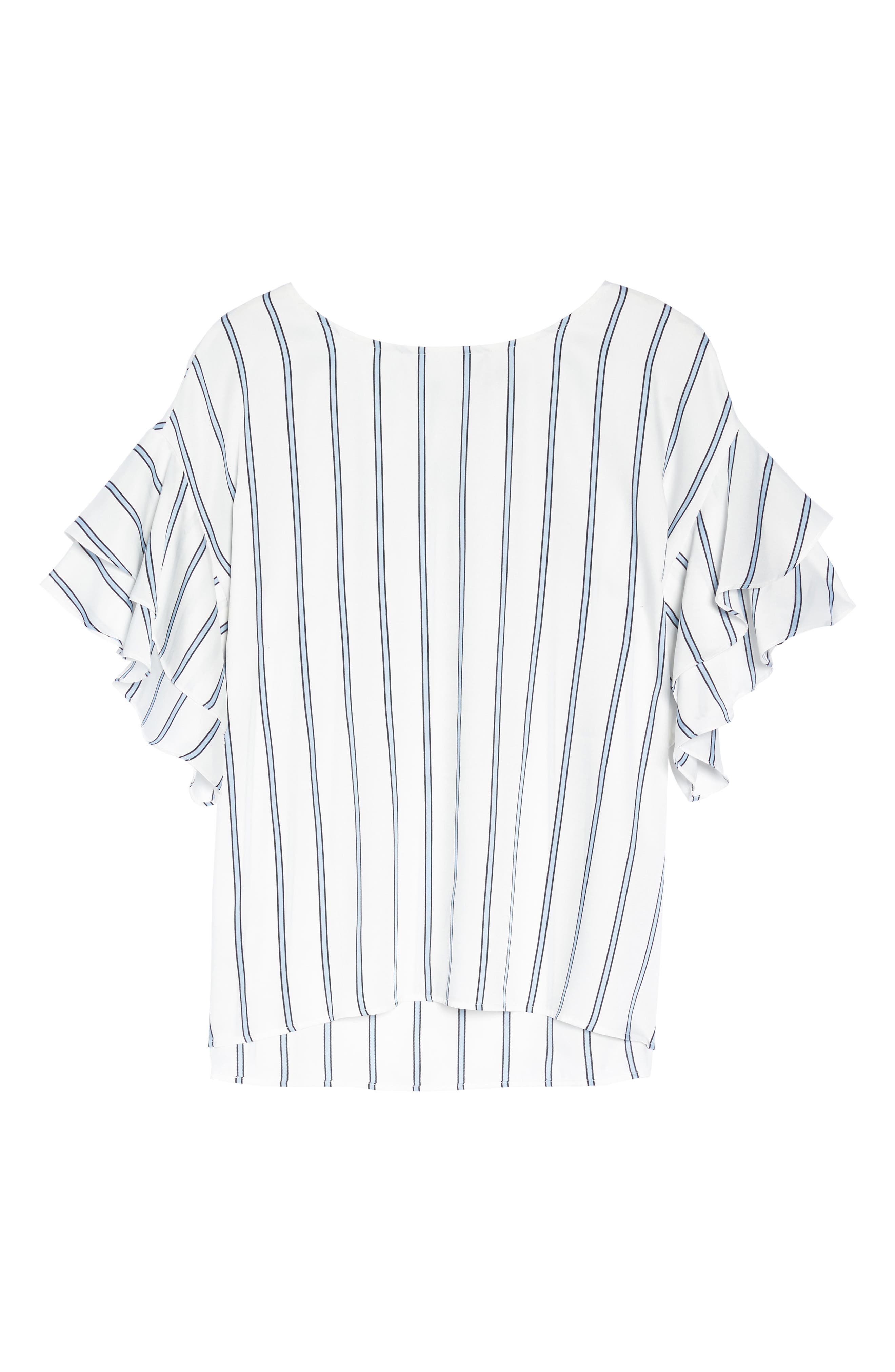 Tiered Ruffle Sleeve Stripe Top,                             Alternate thumbnail 12, color,